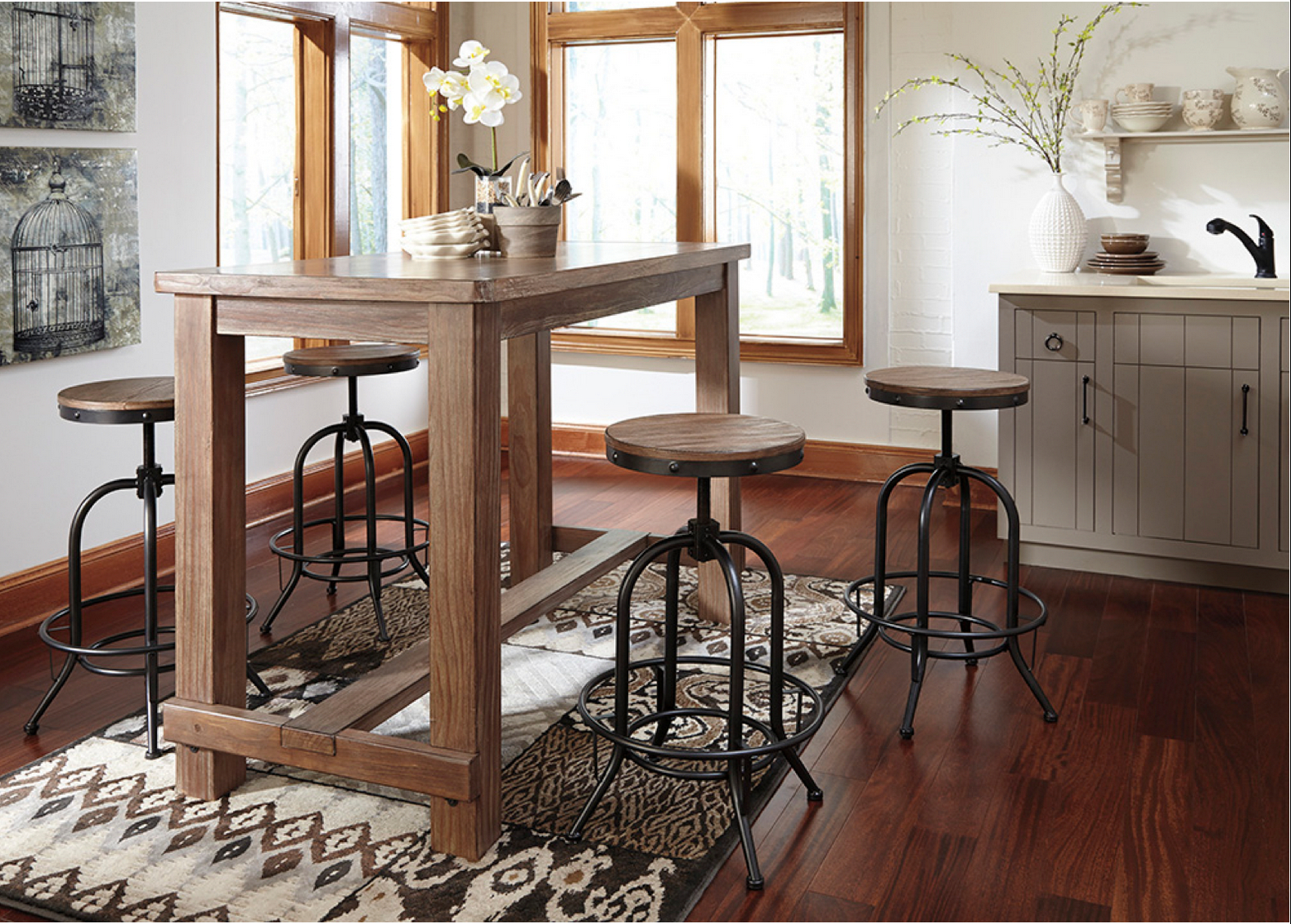 Popular Castellanos Modern 5 Piece Counter Height Dining Sets Inside Rustic Style 5 Piece Pub Set (View 20 of 25)