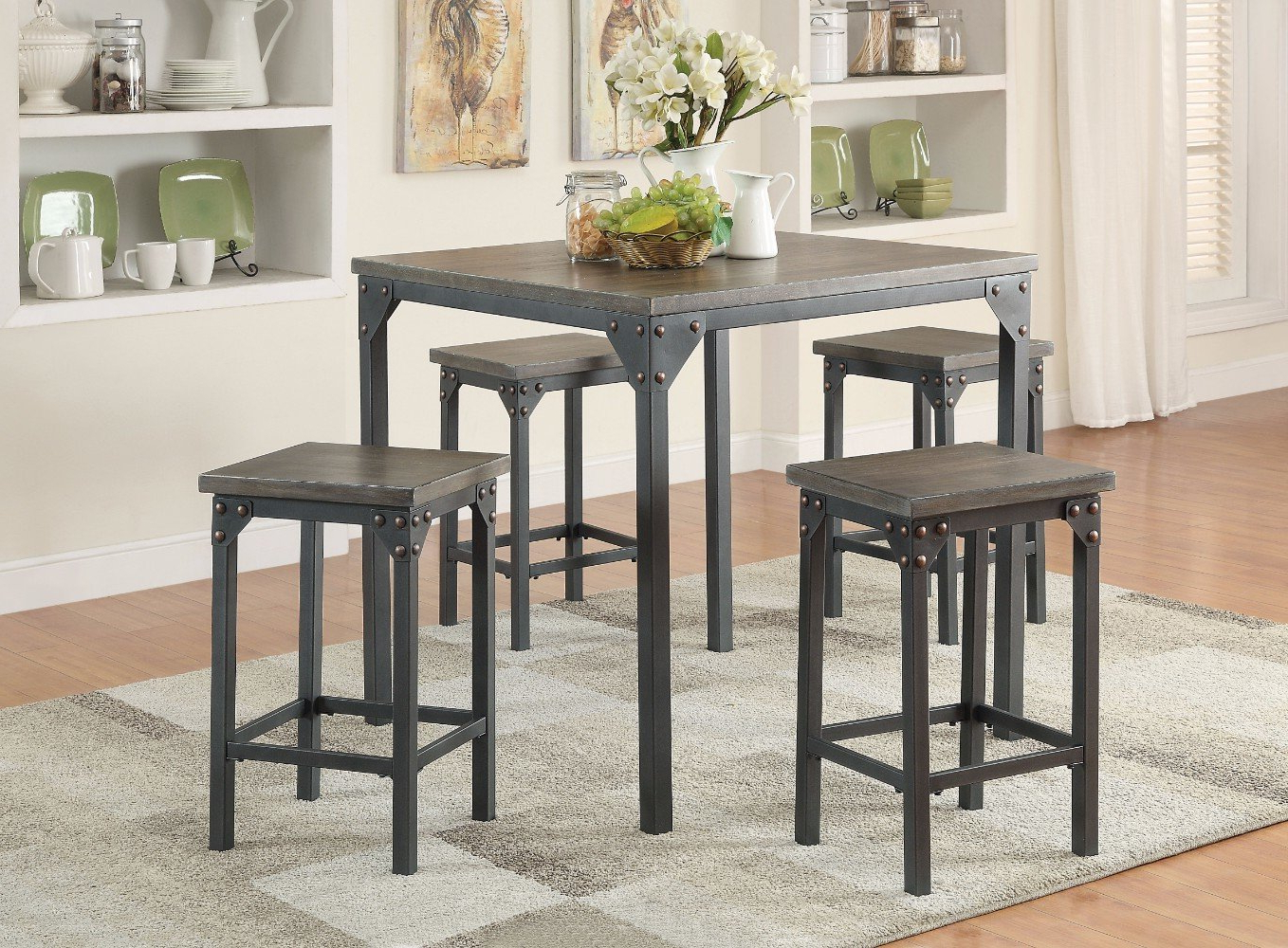 Popular Gracie Oaks Stackpole 5 Piece Counter Height Dining Set (View 5 of 25)