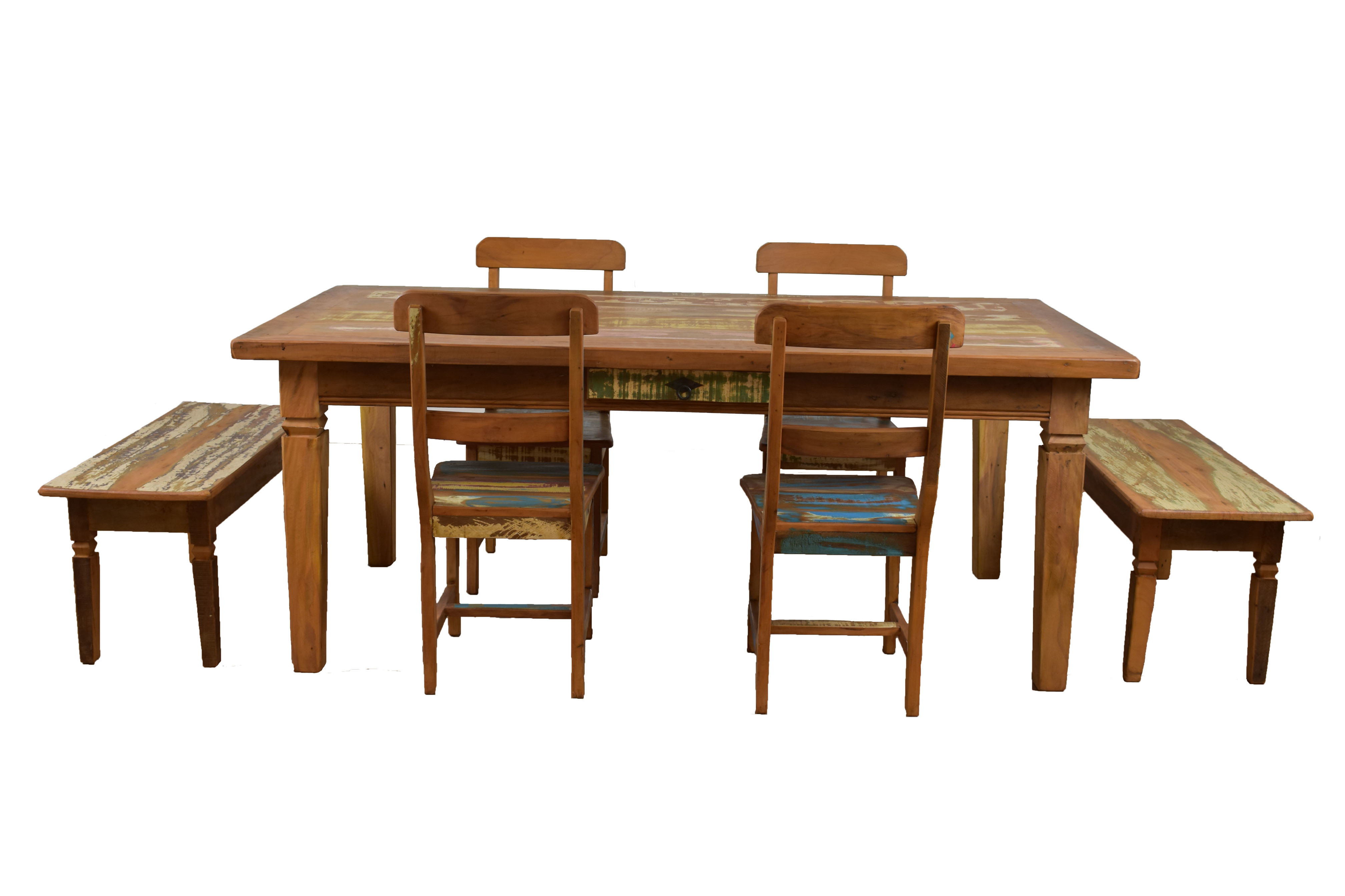 Popular Kaya 3 Piece Dining Sets Pertaining To Bloomsbury Market Goulart 7 Piece Solid Wood Dining Set (View 21 of 25)
