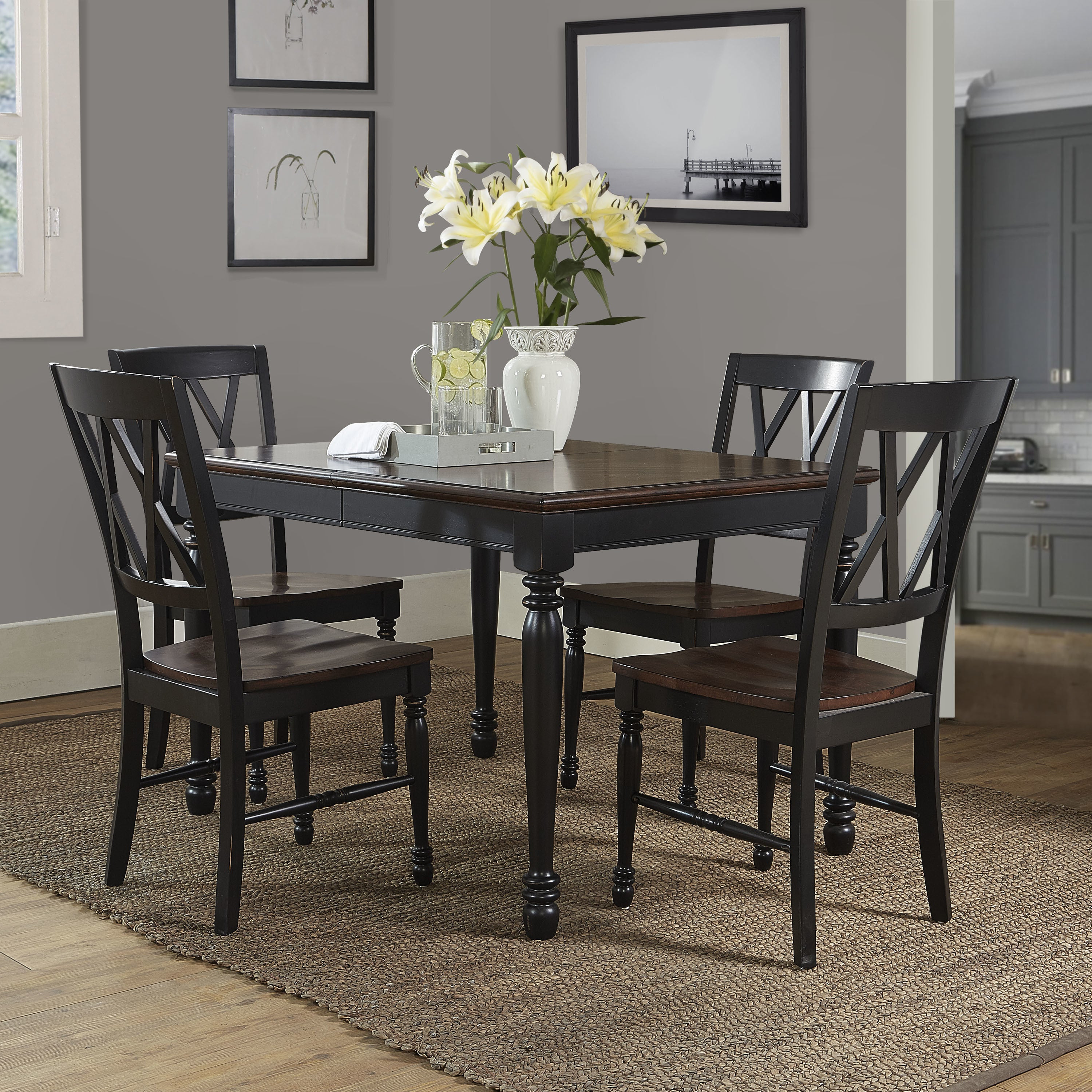 Popular Laconia 7 Pieces Solid Wood Dining Sets (Set Of 7) Pertaining To Shop Shelby Black Wood 5 Piece Dining Set – Free Shipping Today (View 17 of 25)