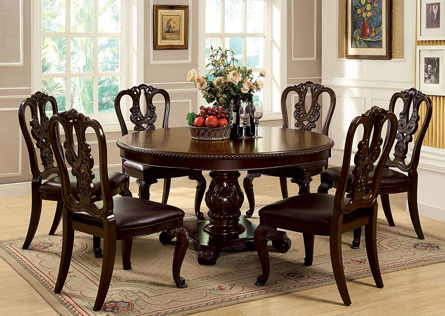 Popular Linette 5 Piece Dining Table Sets Regarding Amazon – Furniture Of America Evangelyn 7 Piece Dining Set With (View 12 of 25)