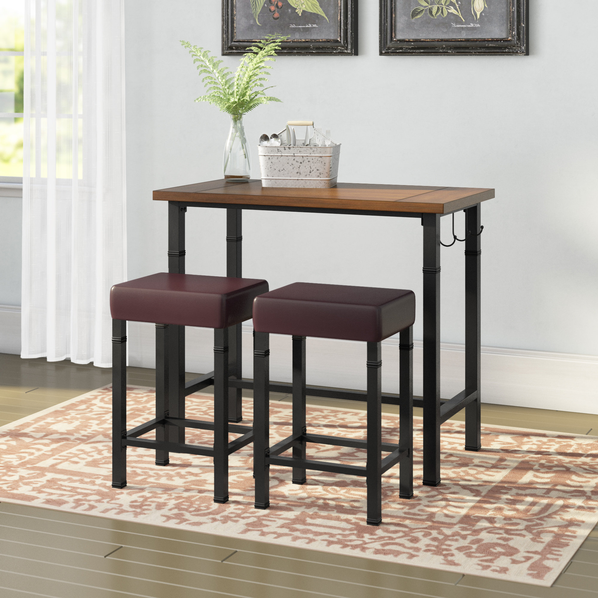Popular Penelope 3 Piece Counter Height Wood Dining Sets Throughout Laurel Foundry Modern Farmhouse Sevigny 3 Piece Pub Table Set (View 19 of 25)