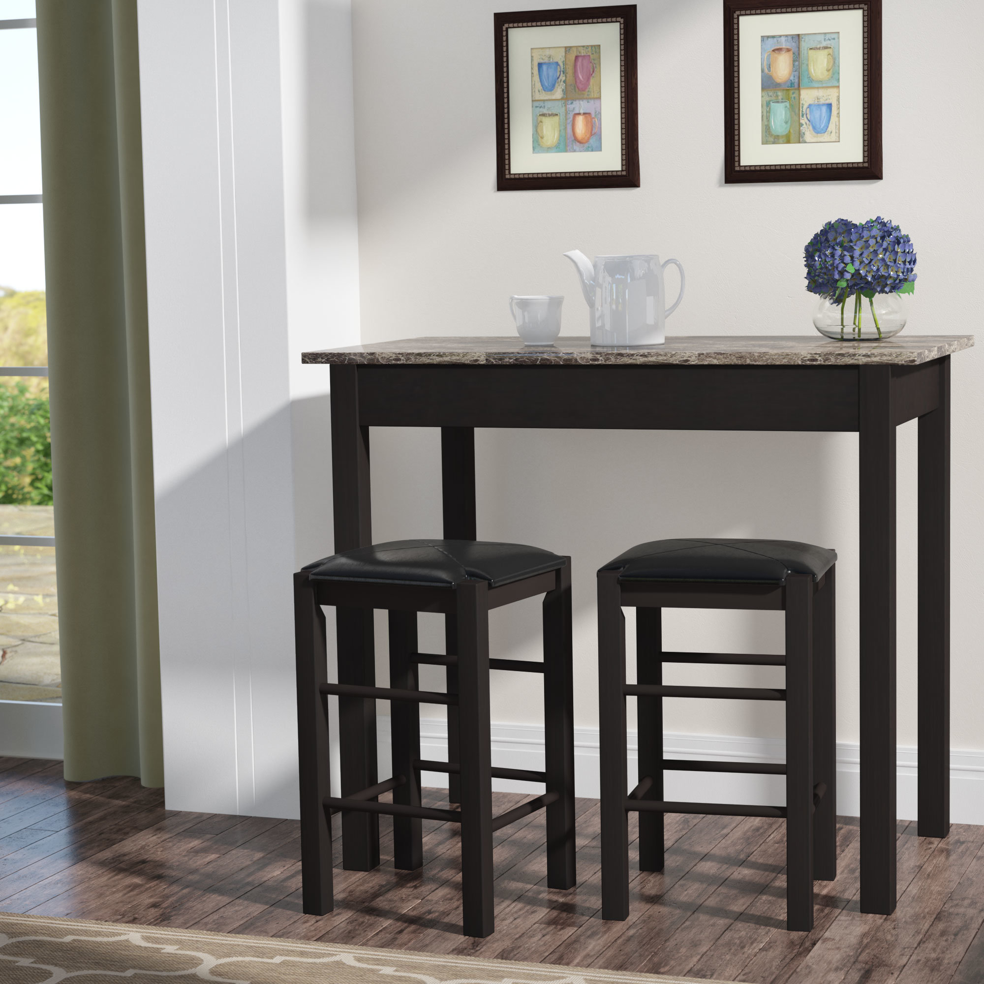 Popular Sheetz 3 Piece Counter Height Dining Set Regarding Debby Small Space 3 Piece Dining Sets (View 17 of 25)