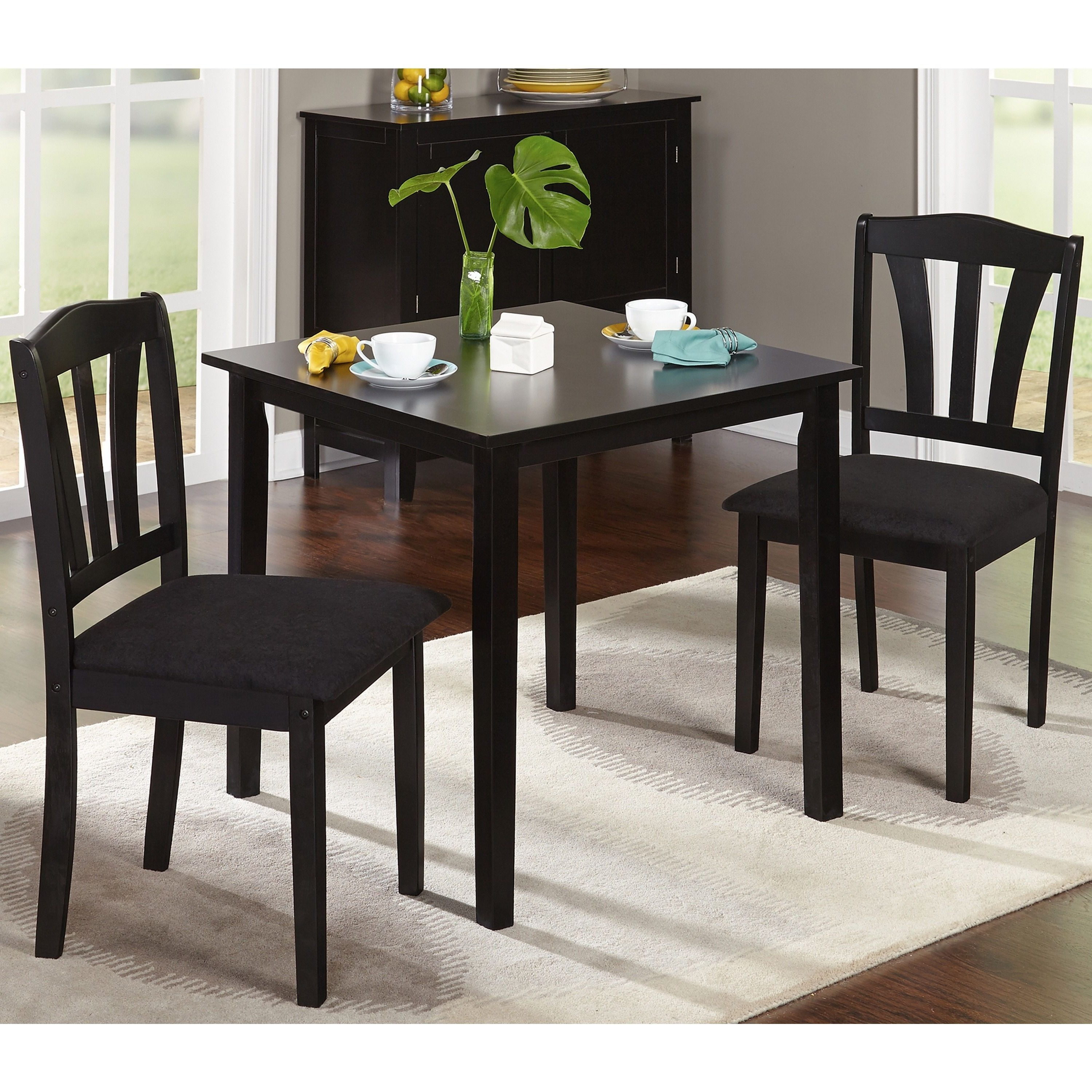Porch & Den Third Ward Michigan 3 Piece Dining Set (Black Wood For Widely Used Baillie 3 Piece Dining Sets (View 2 of 25)