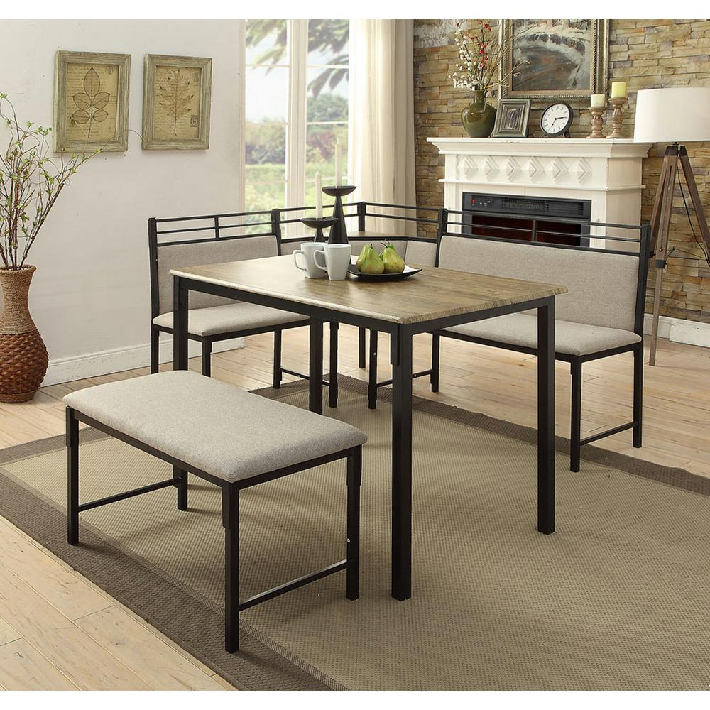 Preferred 3 Piece Breakfast Nook Dinning Set Pertaining To 4D Concepts Boltzero 3 Piece Black And Tan Corner Dining Nook Set (View 24 of 25)