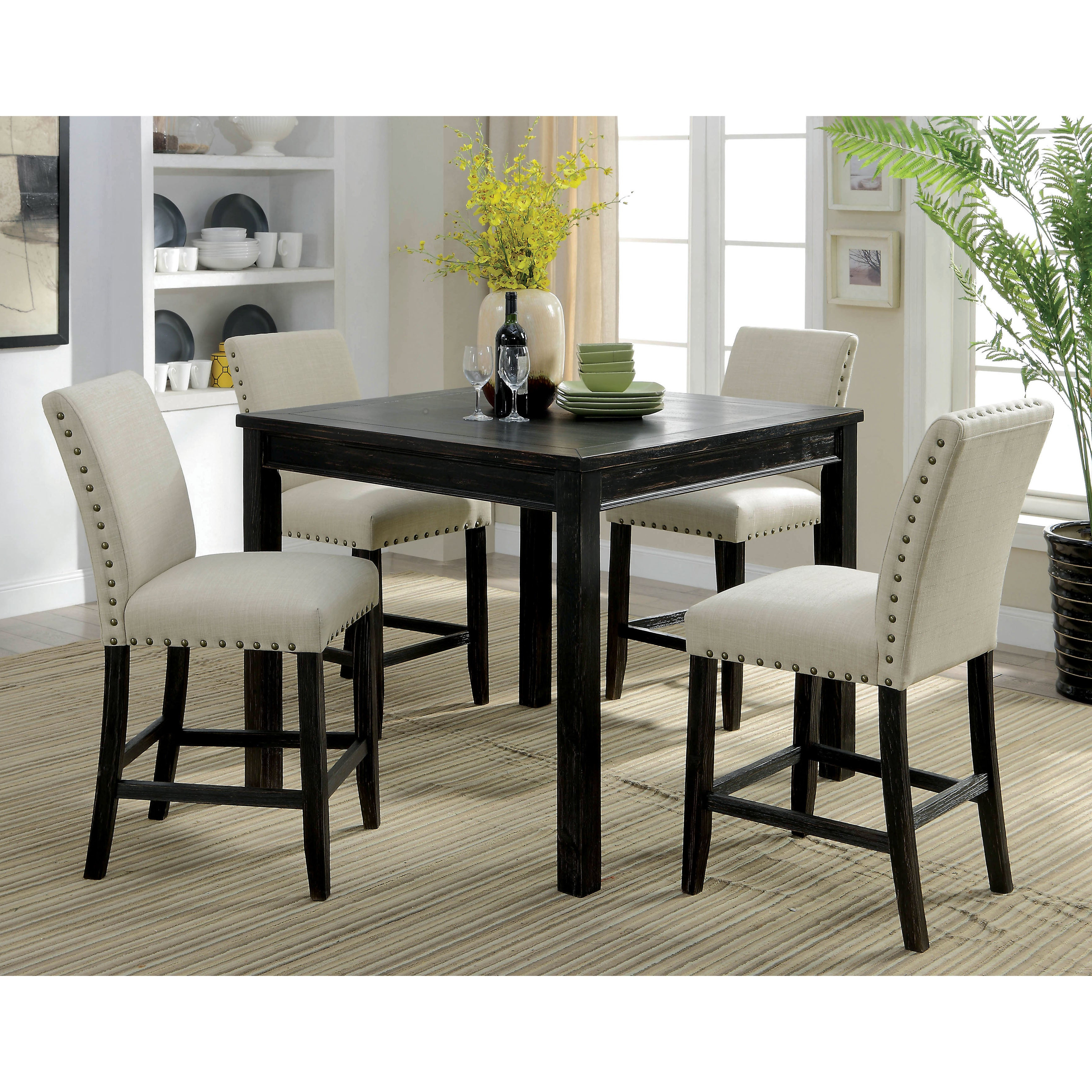 Preferred Baxton Studio Keitaro 5 Piece Dining Sets Intended For Shop Furniture Of America Ibiza Light Brown Piece Outdoor (View 19 of 25)