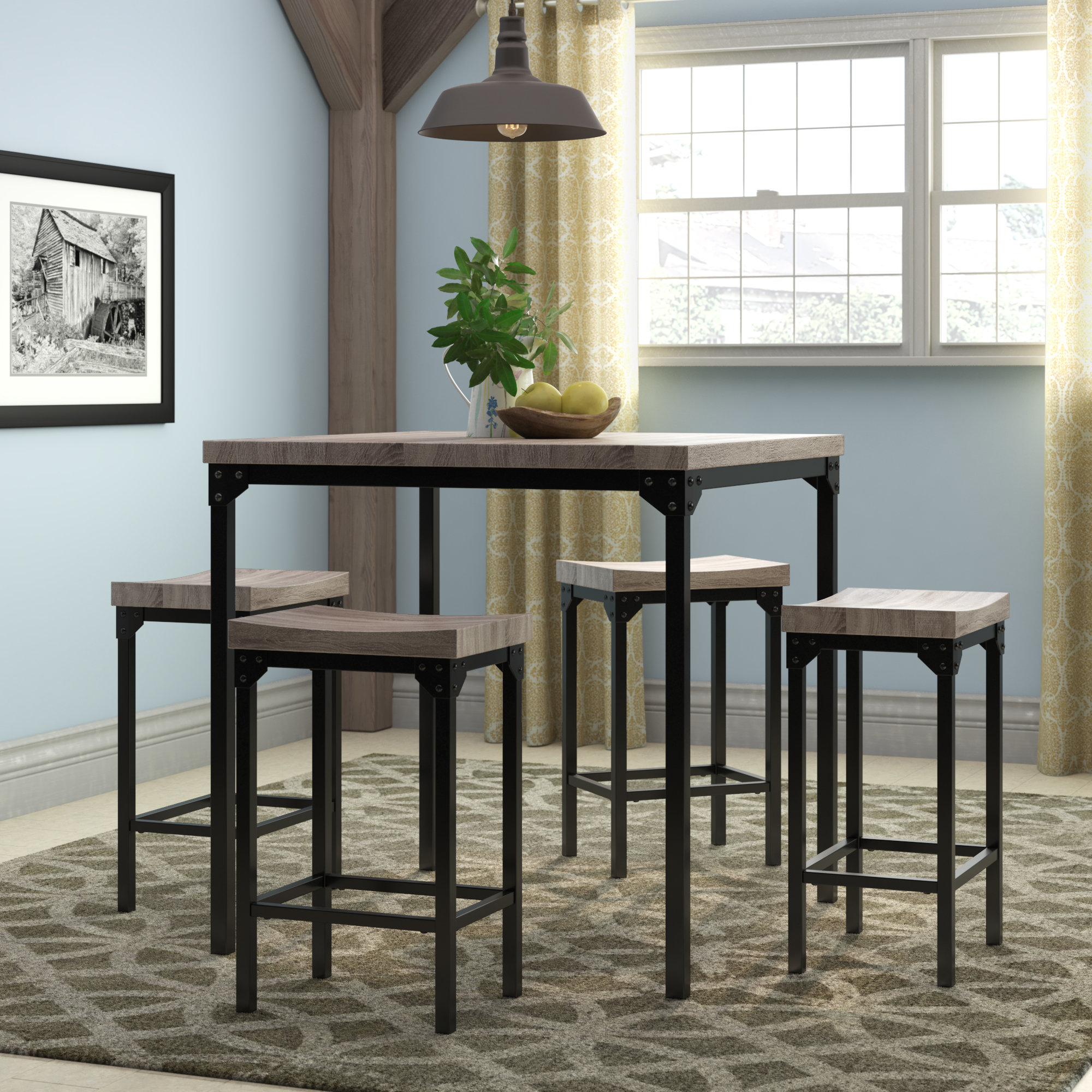 Preferred Bryson 5 Piece Dining Sets Pertaining To Gracie Oaks Wegner 5 Piece Counter Height Dining Set & Reviews (View 22 of 25)