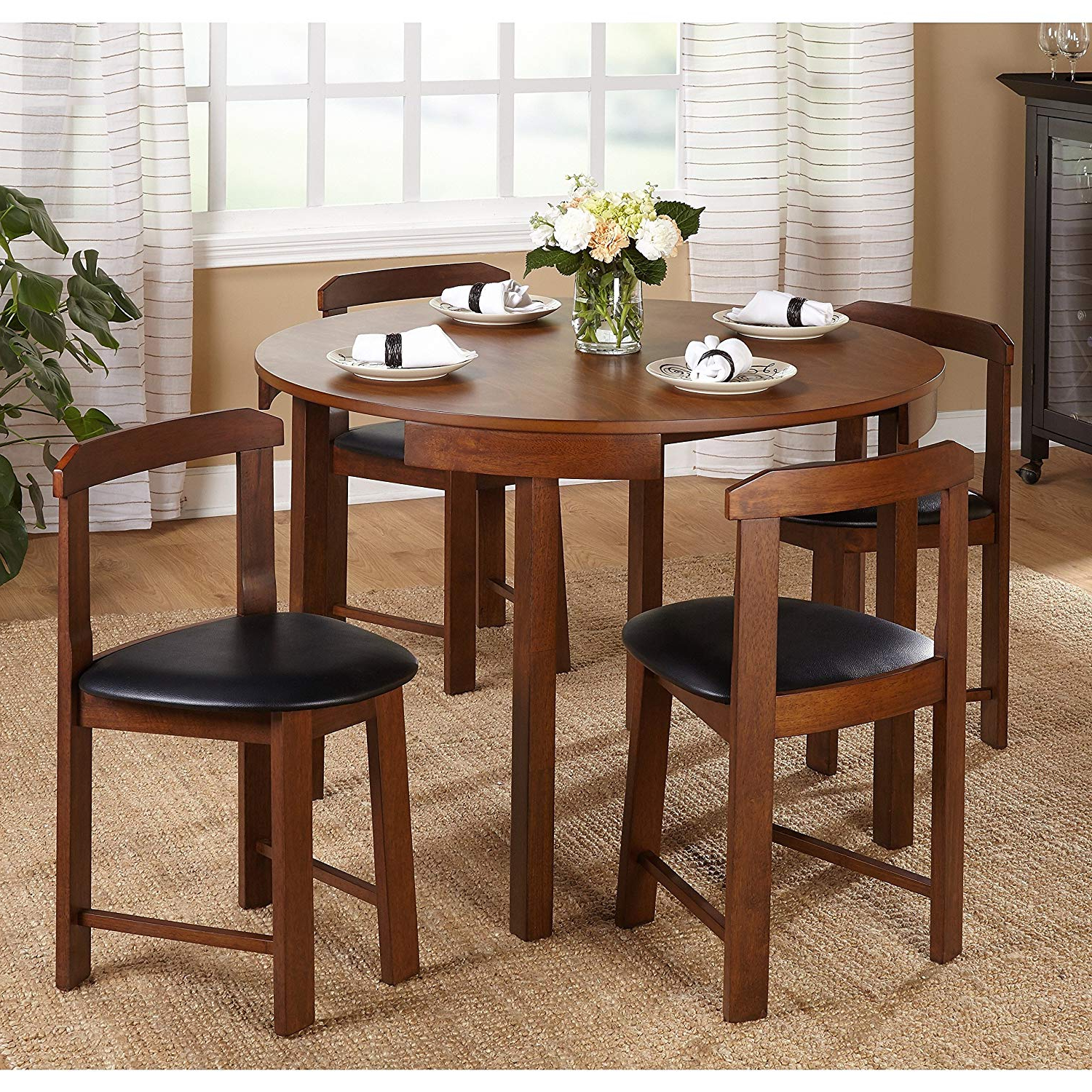 Preferred Debby Small Space 3 Piece Dining Sets Regarding 5 Piece Compact Round Dining Set Home Living Room Furniture (Walnut/black Faux Leather) (View 23 of 25)