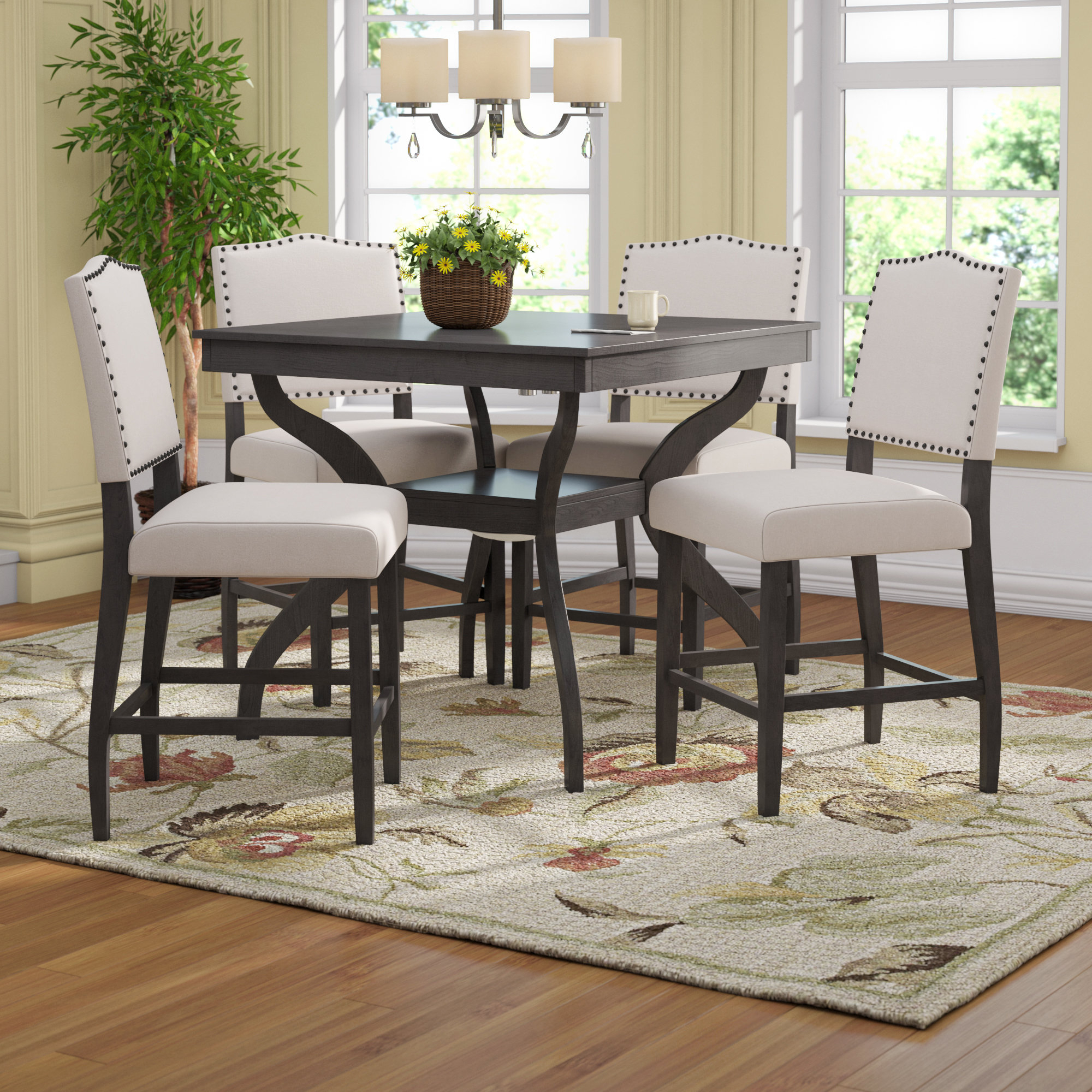 Preferred Ephraim 5 Piece Dining Sets Pertaining To Darby Home Co Campton 5 Piece Counter Height Dining Set & Reviews (View 18 of 25)