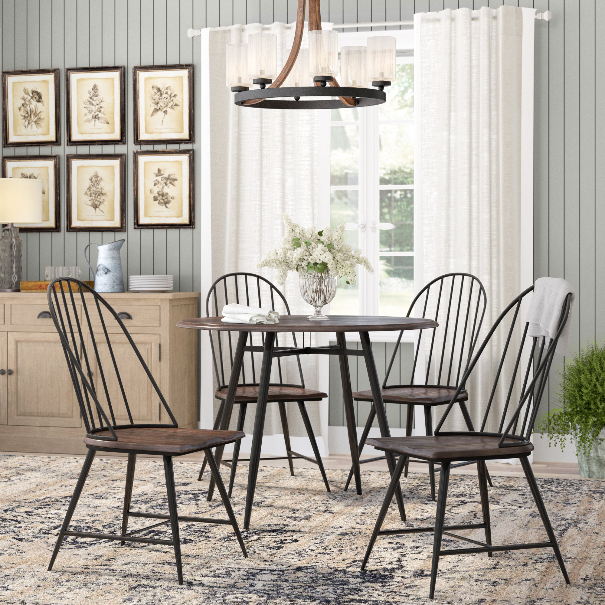 Preferred Laurel Foundry Modern Farmhouse Hughley 5 Piece Dining Set & Reviews Throughout Middleport 5 Piece Dining Sets (View 4 of 25)