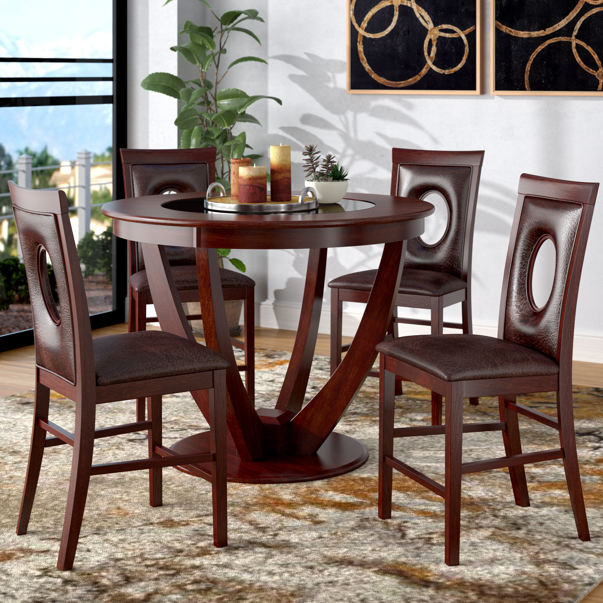 Preferred Mizpah 3 Piece Counter Height Dining Sets Regarding Latitude Run Depriest 5 Piece Counter Height Pub Table Set & Reviews (View 18 of 25)