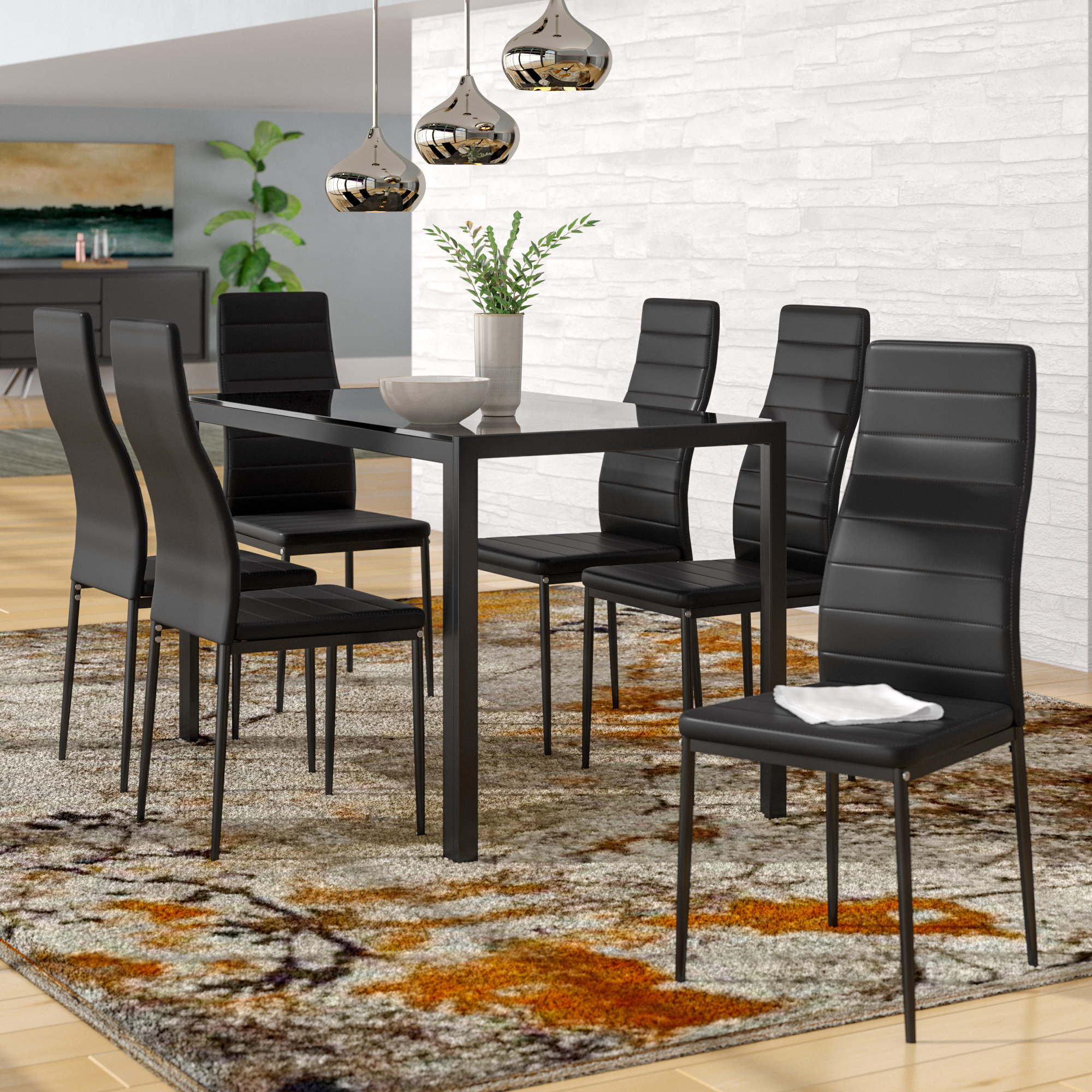 Preferred Orren Ellis Renick Modern 7 Piece Dining Set & Reviews (View 16 of 25)