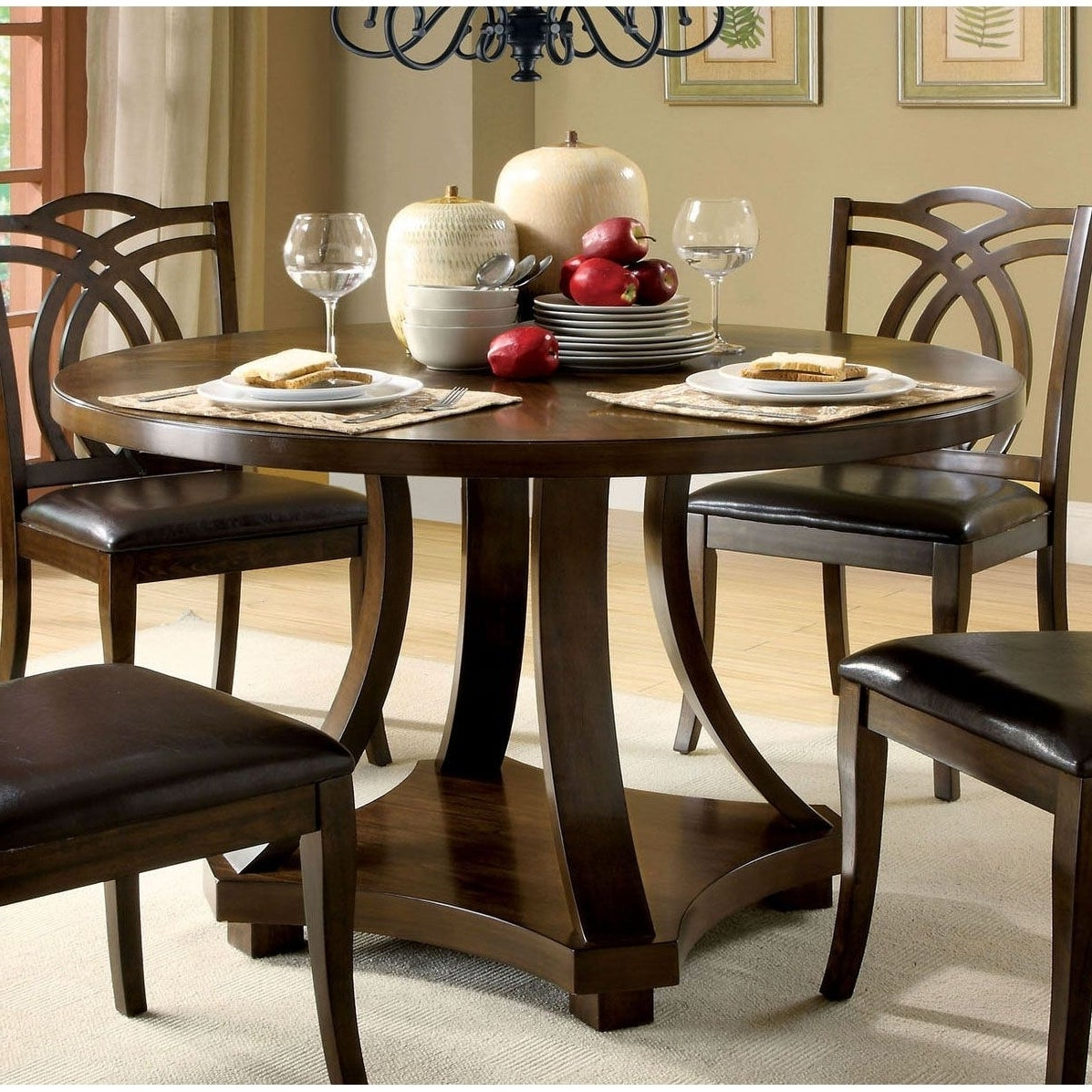 Preferred Shop Transitional Round Dining Table, Dark Walnut Brown – Free Throughout Biggs 5 Piece Counter Height Solid Wood Dining Sets (Set Of 5) (View 13 of 25)
