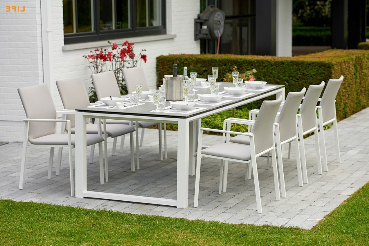 Primavera Dining White – Life Outdoor Living Regarding Most Current Osterman 6 Piece Extendable Dining Sets (Set Of 6) (View 20 of 25)