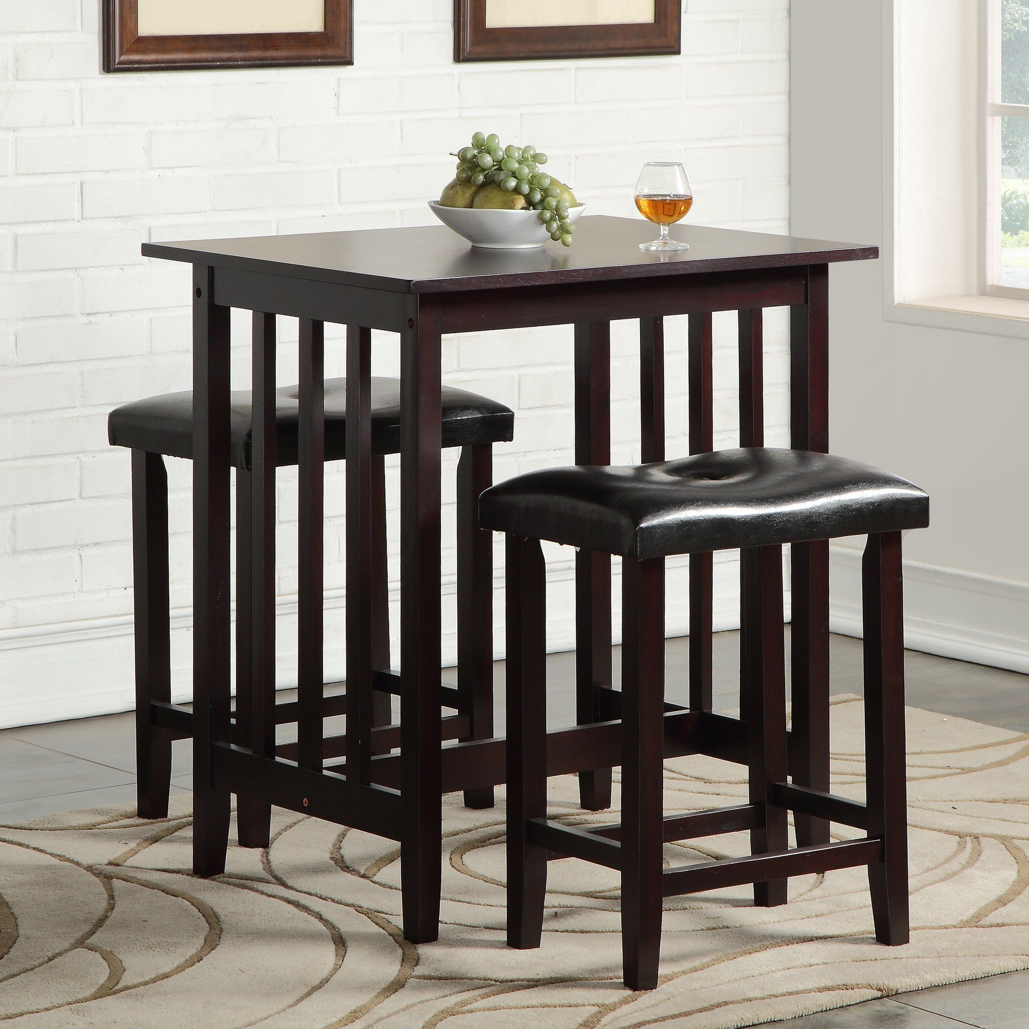 Pub Table In Bettencourt 3 Piece Counter Height Solid Wood Dining Sets (View 7 of 25)