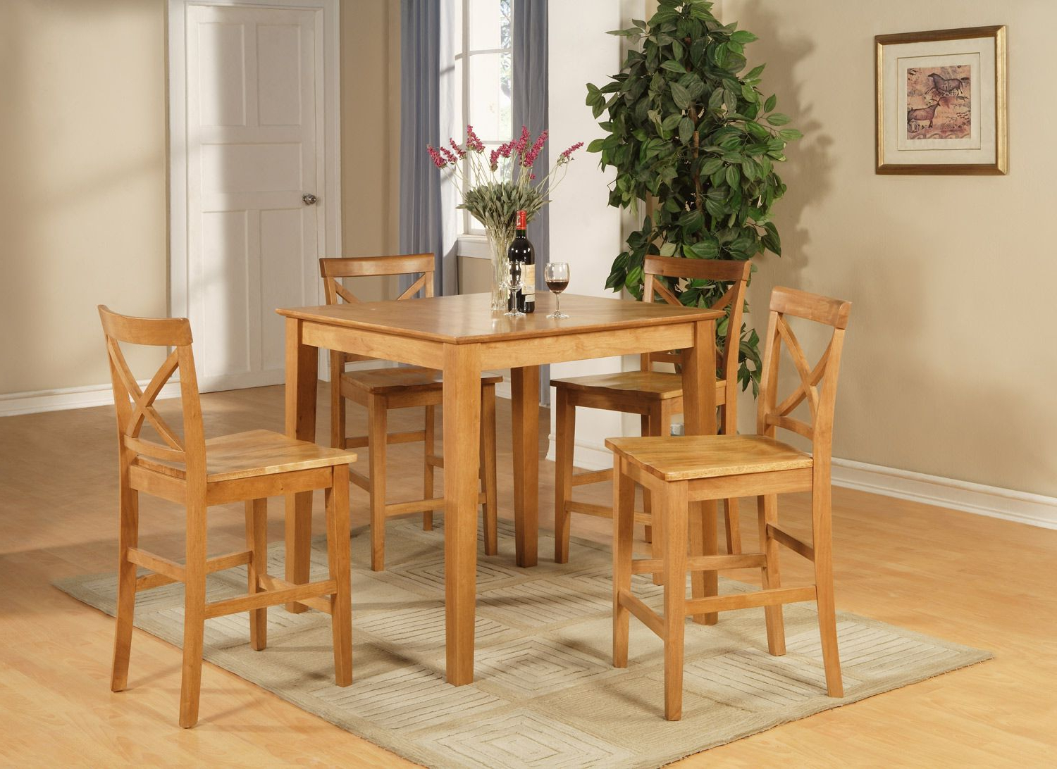 Recent 5Pc Counter Height Pub Set In Oak Color (View 21 of 25)