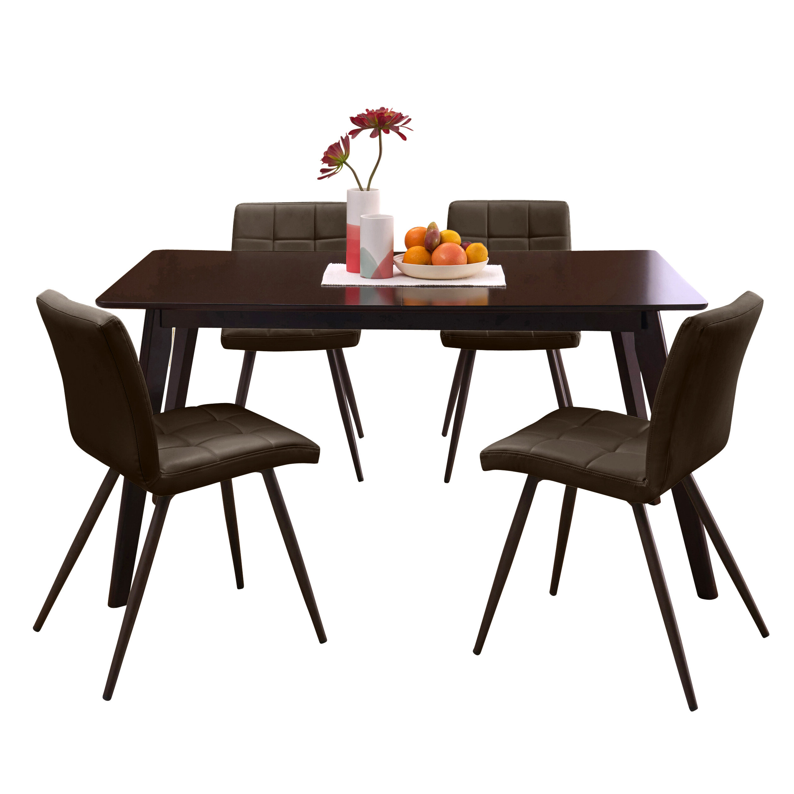 Recent Amir 5 Piece Solid Wood Dining Sets (Set Of 5) For Wrought Studio Mcewen Rectangle Armless Tufted 5 Piece Dining Set (View 20 of 25)
