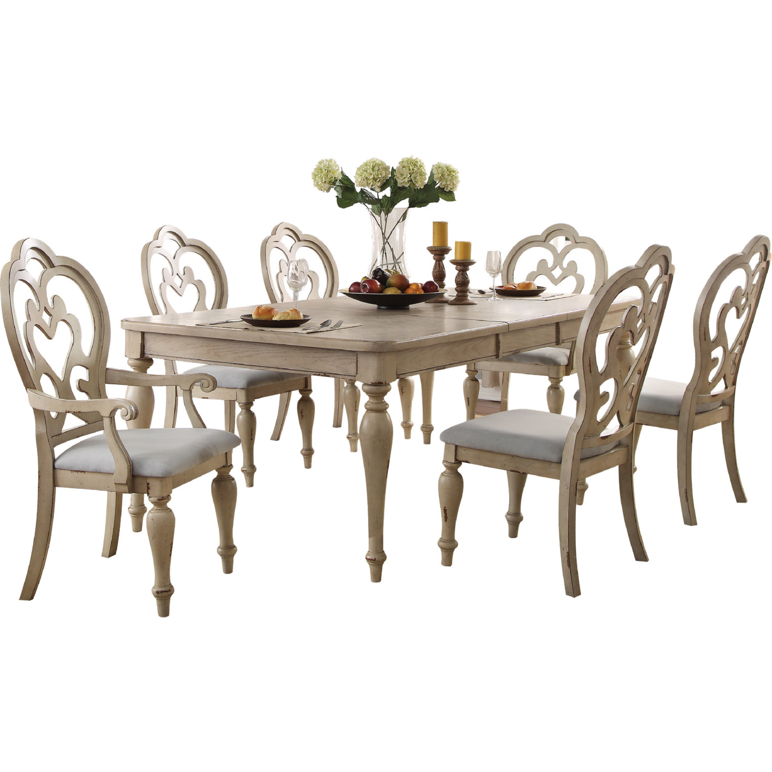 Recent Chelmsford 3 Piece Dining Sets With Acme 66052 Chelmsford Dining Chair In Beige Fabric & Antique Taupe (View 6 of 25)