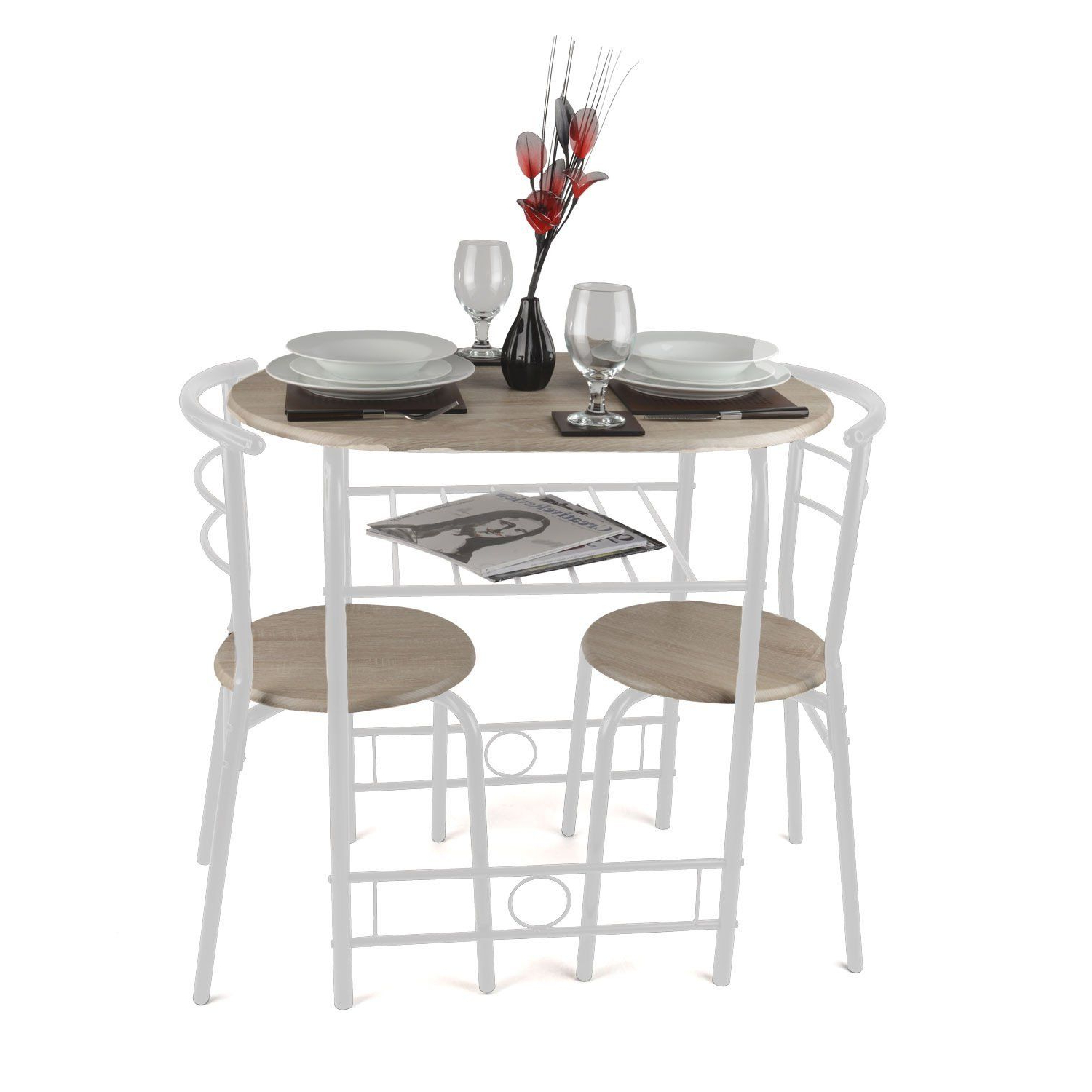 Recent Christow 3 Piece Breakfast Dining Set White: Amazon.co (View 2 of 25)