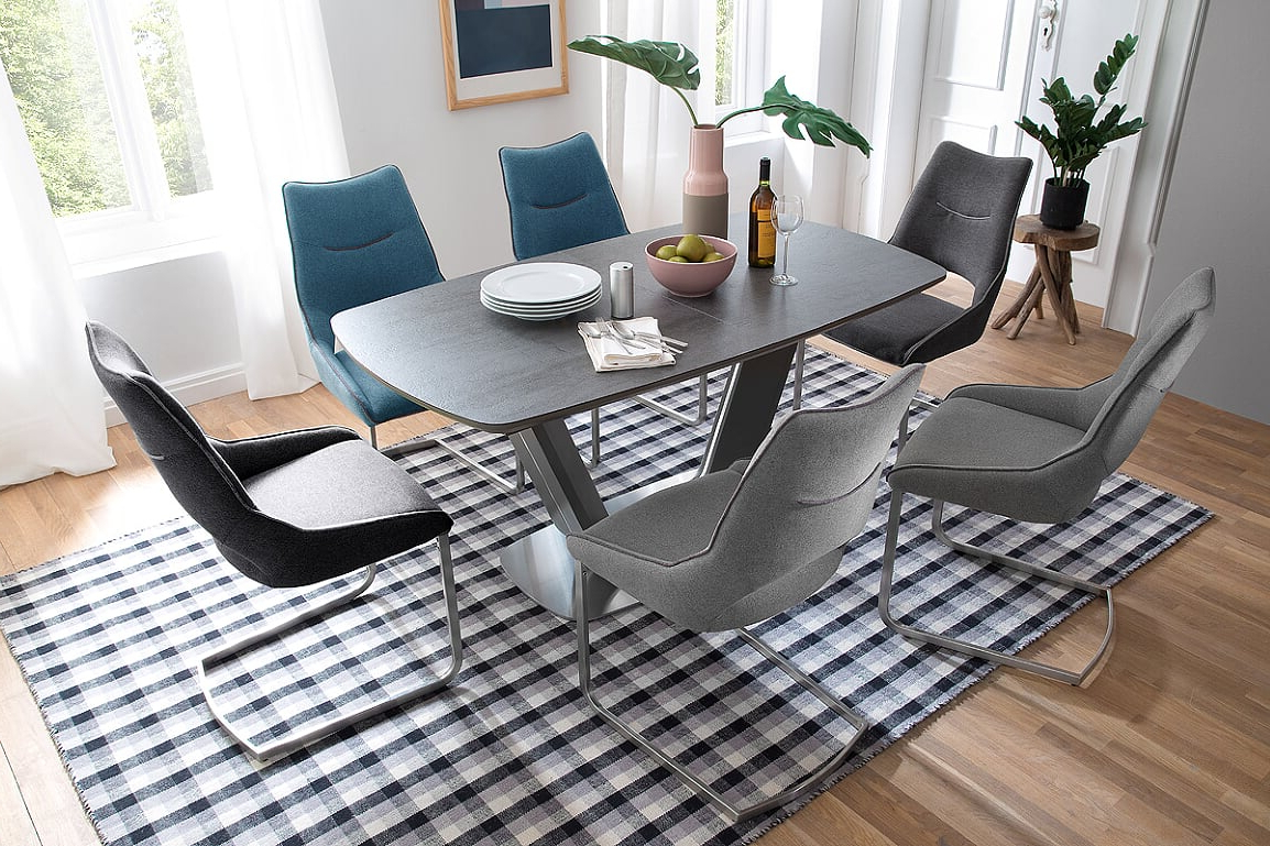 Recent Jarrod 5 Piece Dining Sets With Jarrod Grey And Anthracite Ceramic Extending Dining Table 160Cm (View 16 of 25)