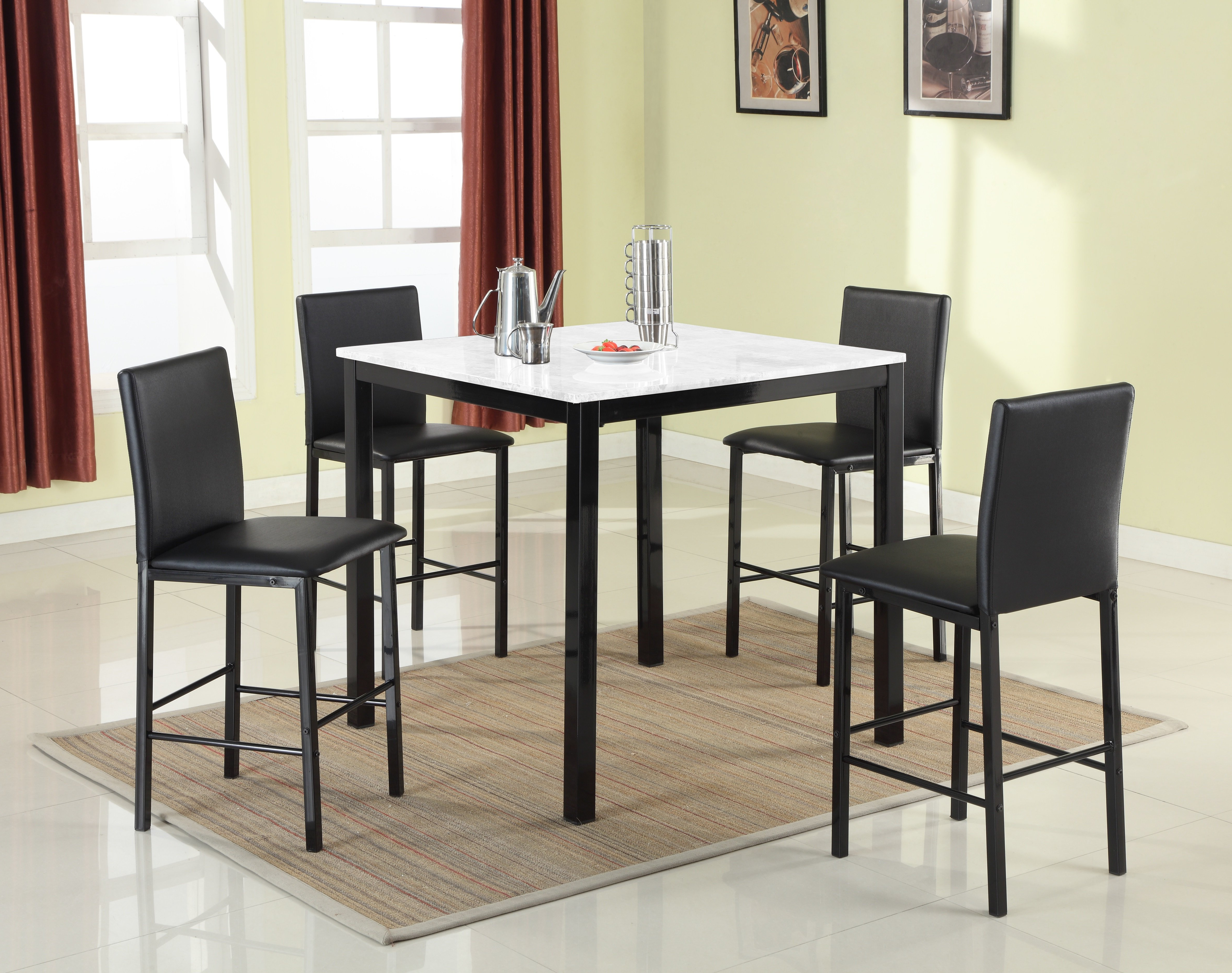 Red Barrel Studio Ariandne Faux Marble 5 Piece Counter Height Dining throughout Preferred Aria 5 Piece Dining Sets