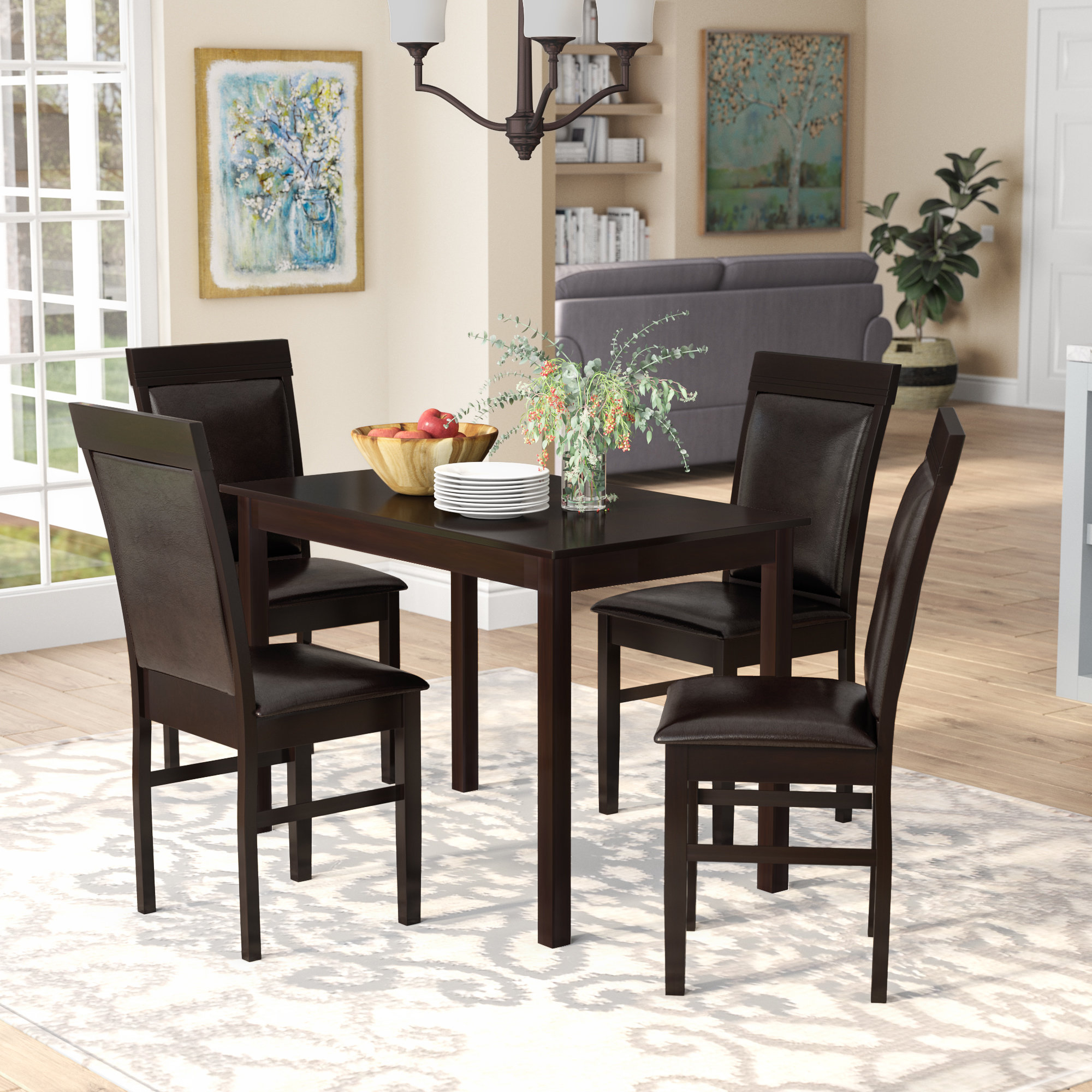 Red Barrel Studio Kisor Modern And Contemporary 5 Piece Breakfast regarding Well-known 5 Piece Breakfast Nook Dining Sets