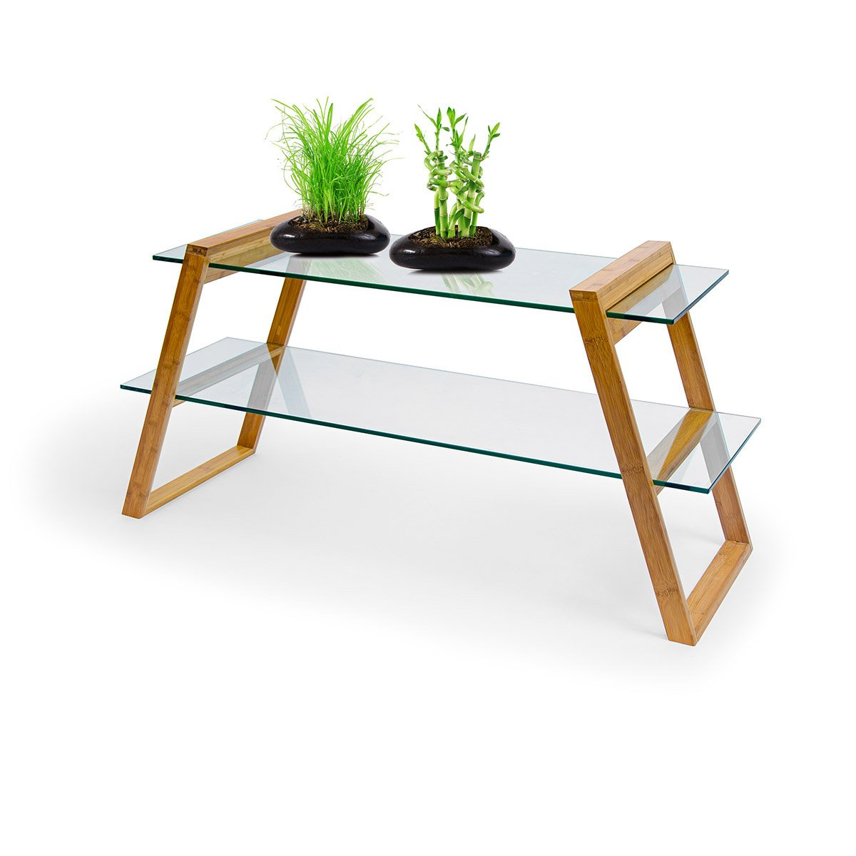 Relaxdays Mukai Coffee Table, Large Glass & Bamboo Sofa Table With 2 inside Most Recently Released Mukai 5 Piece Dining Sets