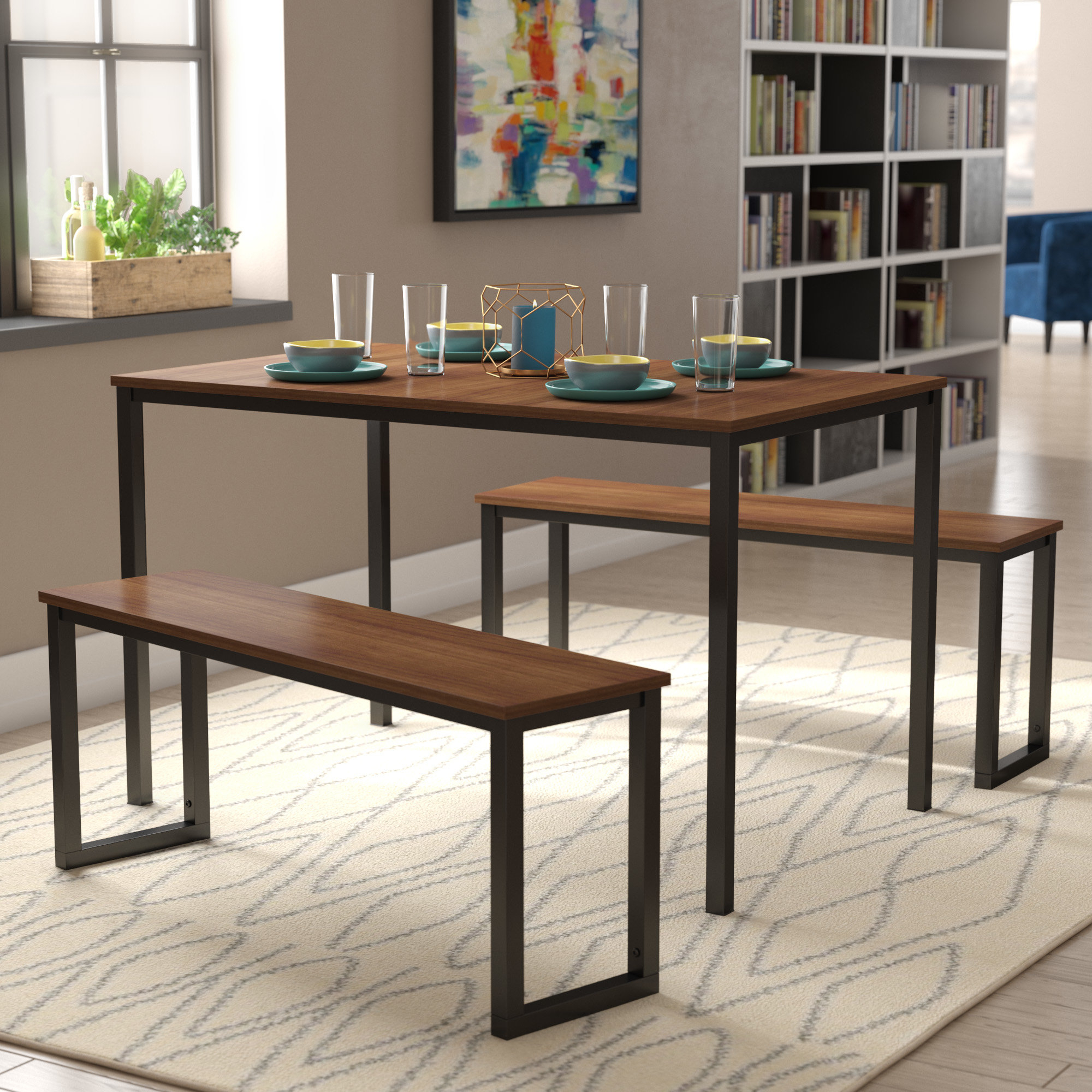 Rossiter 3 Piece Dining Sets intended for Most Recently Released Modern Rustic Interiors Frida 3 Piece Dining Table Set & Reviews