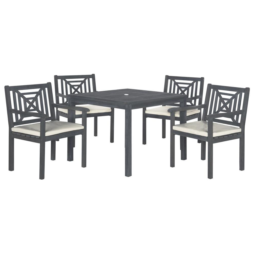 Safavieh Del Mar Ash Gray 5 Piece Patio Dining Set With Beige With Most Recent Delmar 5 Piece Dining Sets (View 3 of 25)