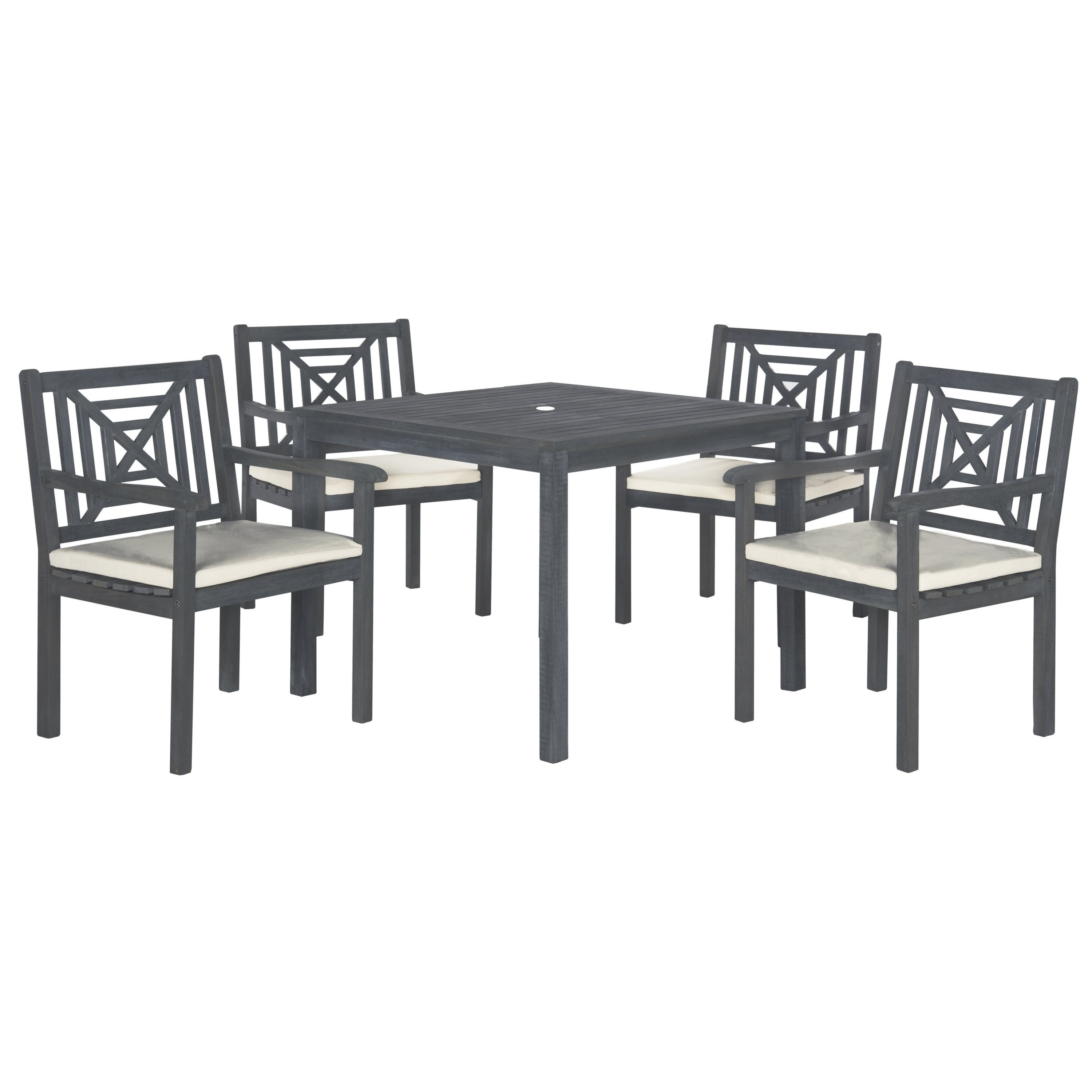 Safavieh Outdoor Living Del Mar Ash Grey Acacia Wood 5 Piece Beige Inside Best And Newest Delmar 5 Piece Dining Sets (View 22 of 25)