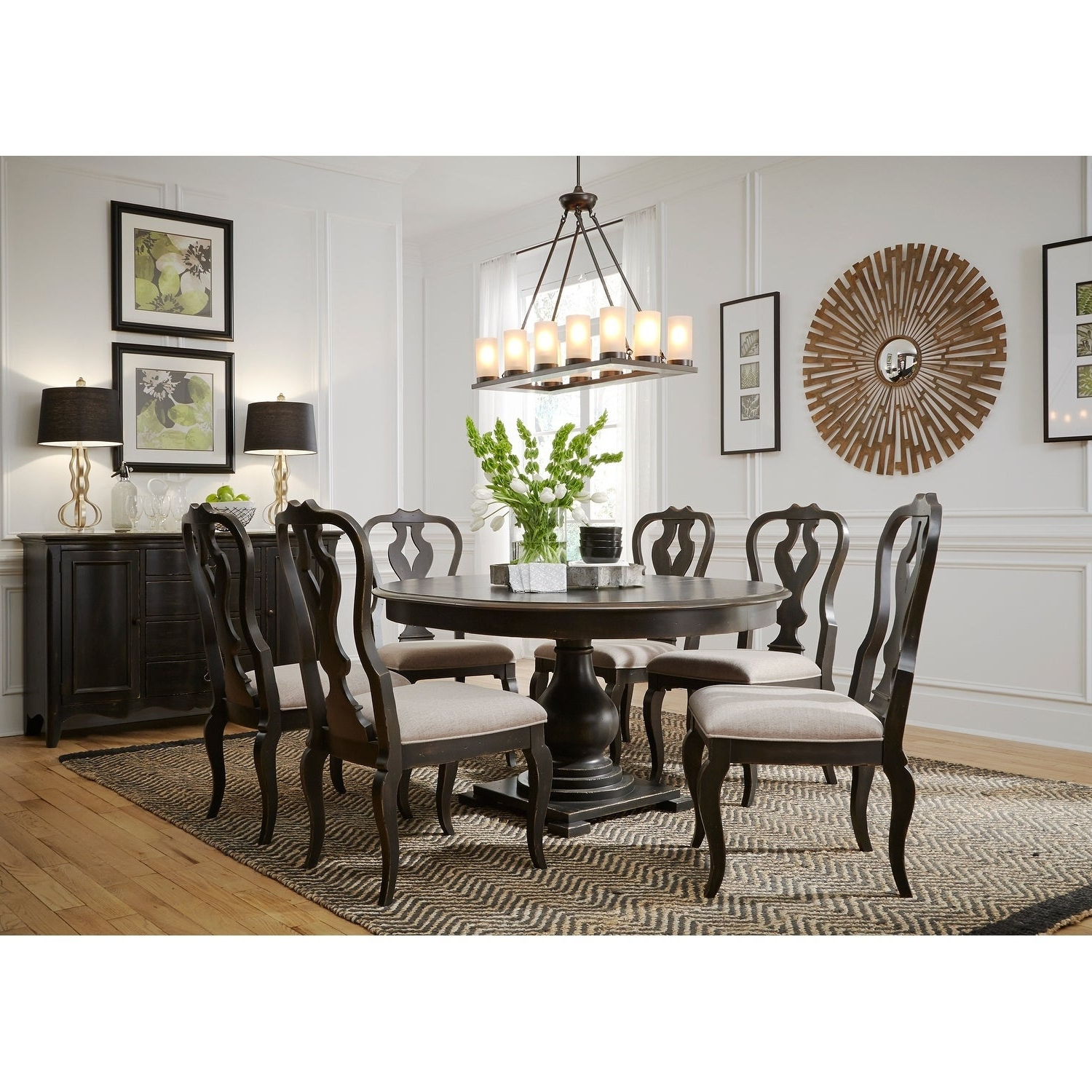 Shop Chesapeake Wire Brushed Antique Black 7 Piece Pedestal Table With Regard To Most Recently Released Tejeda 5 Piece Dining Sets (View 17 of 25)