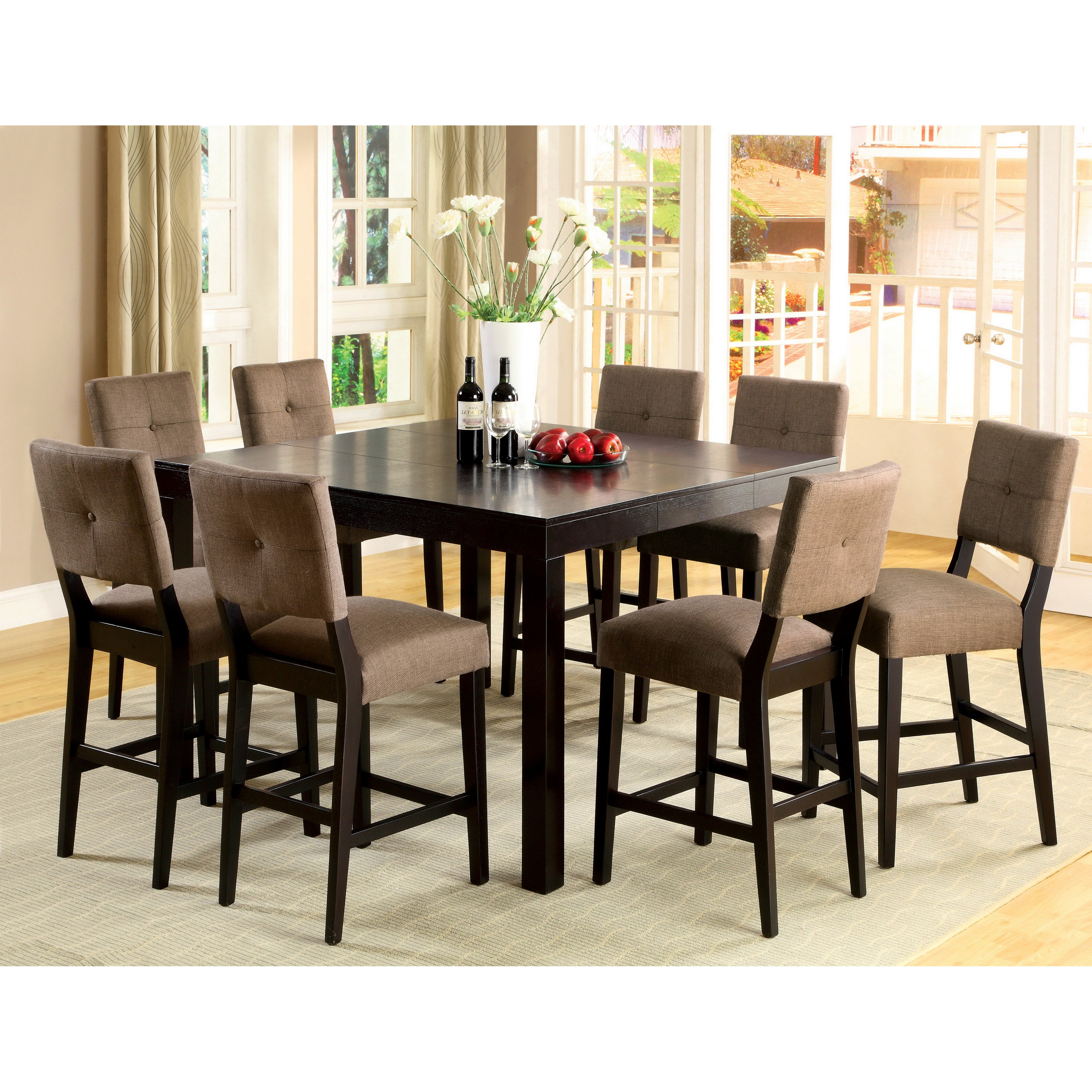 Shop Furniture Of America Catherine Espresso Counter Height Dining Throughout Trendy Wallflower 3 Piece Dining Sets (View 4 of 25)