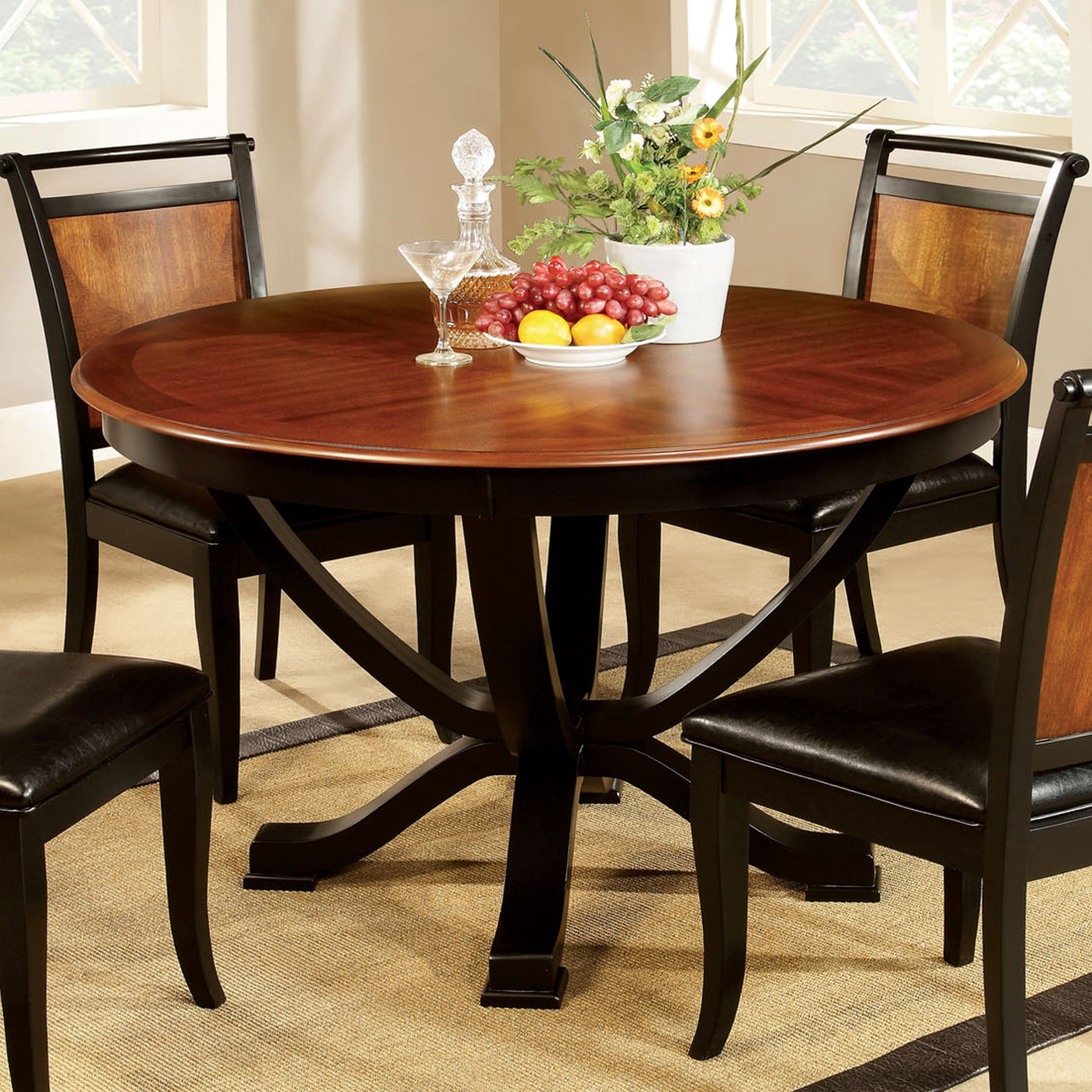Shop Furniture Of America Lyda Transitional Black Acacia Round In Well Known Biggs 5 Piece Counter Height Solid Wood Dining Sets (Set Of 5) (View 11 of 25)