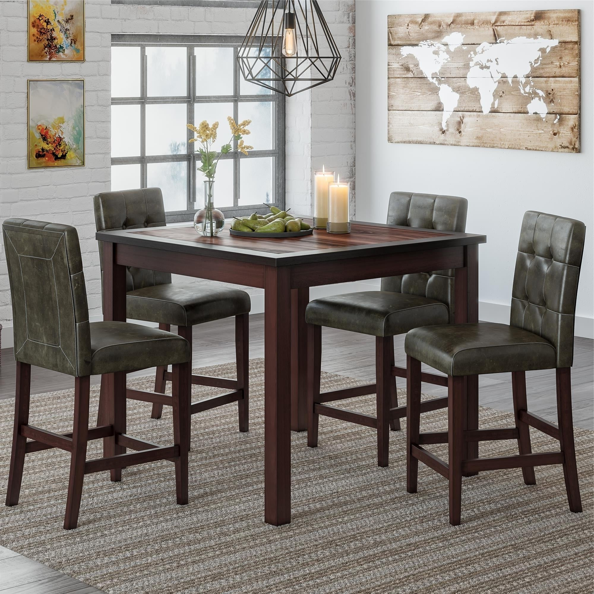 Shop Gracewood Hollow Betancourt Espresso 5 Piece Counter Height Within Most Recent Bettencourt 3 Piece Counter Height Solid Wood Dining Sets (View 13 of 25)