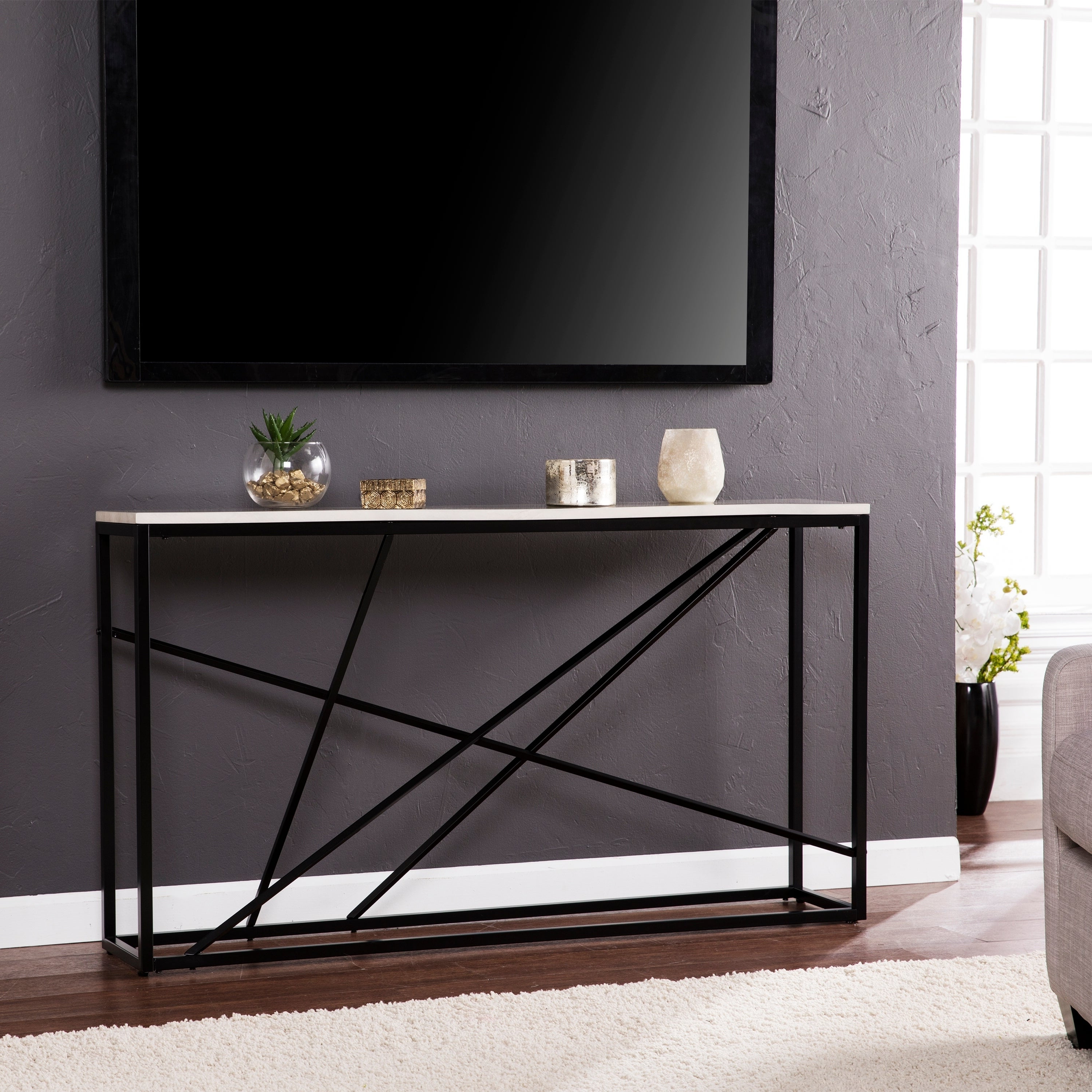 Shop Harper Blvd Kerley Faux Marble Skinny Console Table – Matte Intended For Favorite Kerley 4 Piece Dining Sets (View 19 of 25)