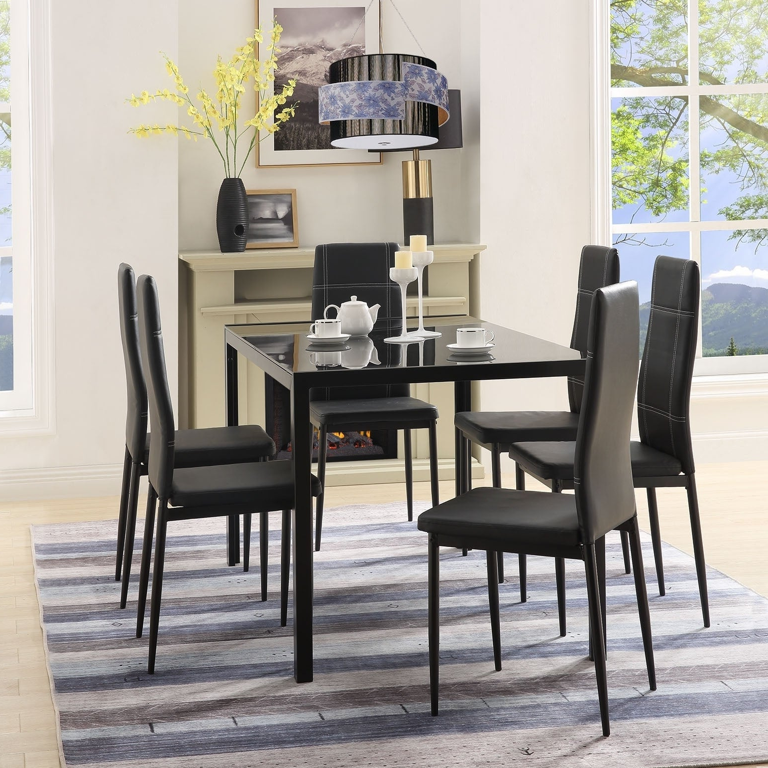 Shop Merax 7 Piece Dining Set Glass Top Metal Table 6 Person Table With Regard To Best And Newest Maynard 5 Piece Dining Sets (View 14 of 25)