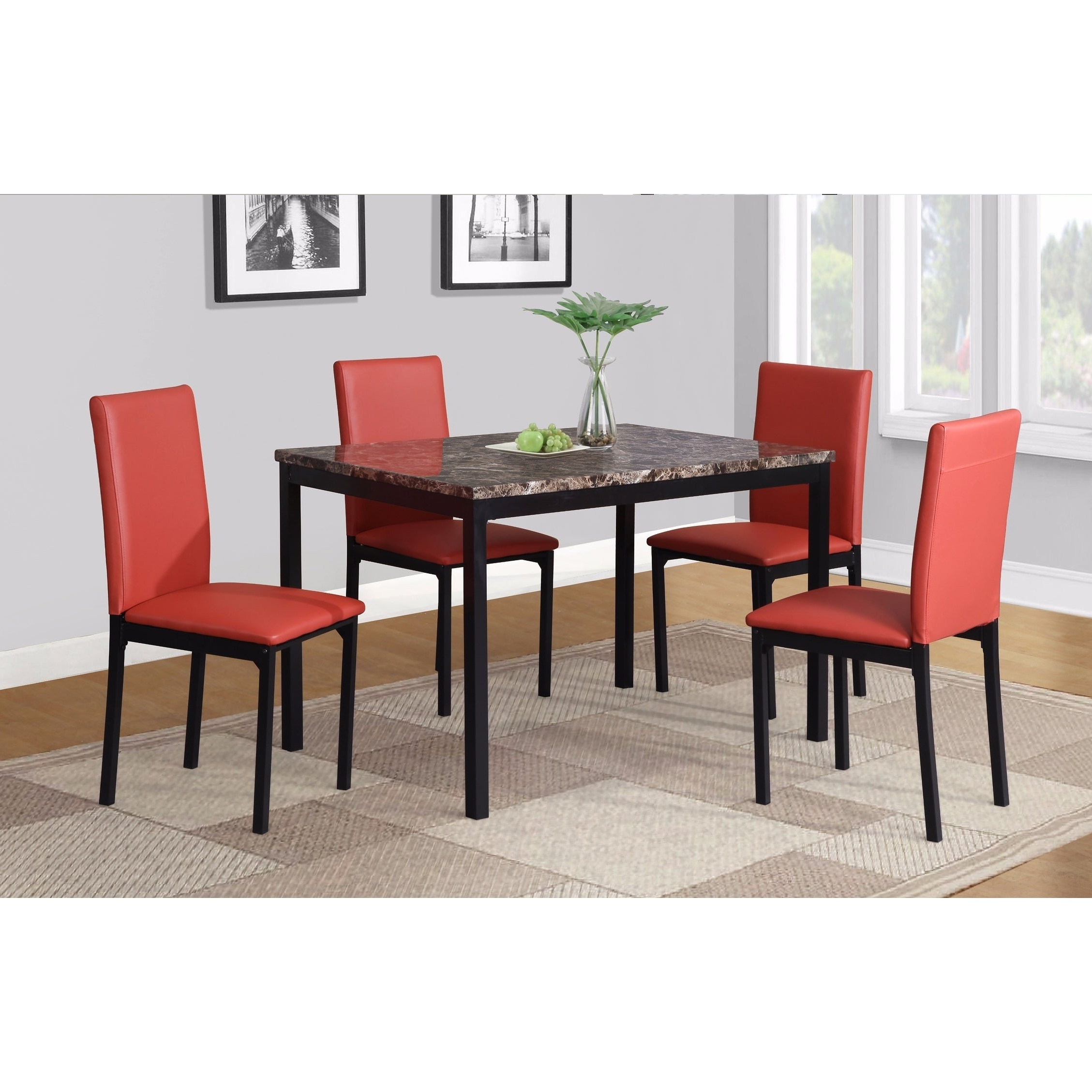 Shop Noyes Faux Leather Seat Metal Frame Black Dining Chairs, Set Of Within Well Known Noyes 5 Piece Dining Sets (View 6 of 25)