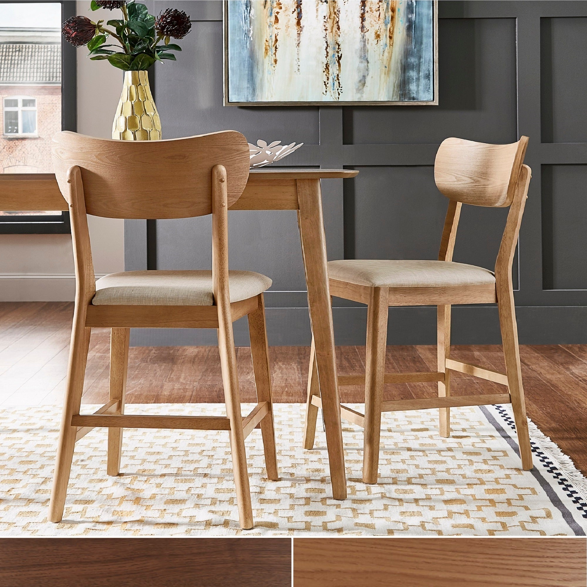 Shop Penelope Danish Modern Tapered Leg Counter Height Chair (Set Of Throughout Most Popular Penelope 3 Piece Counter Height Wood Dining Sets (View 5 of 25)