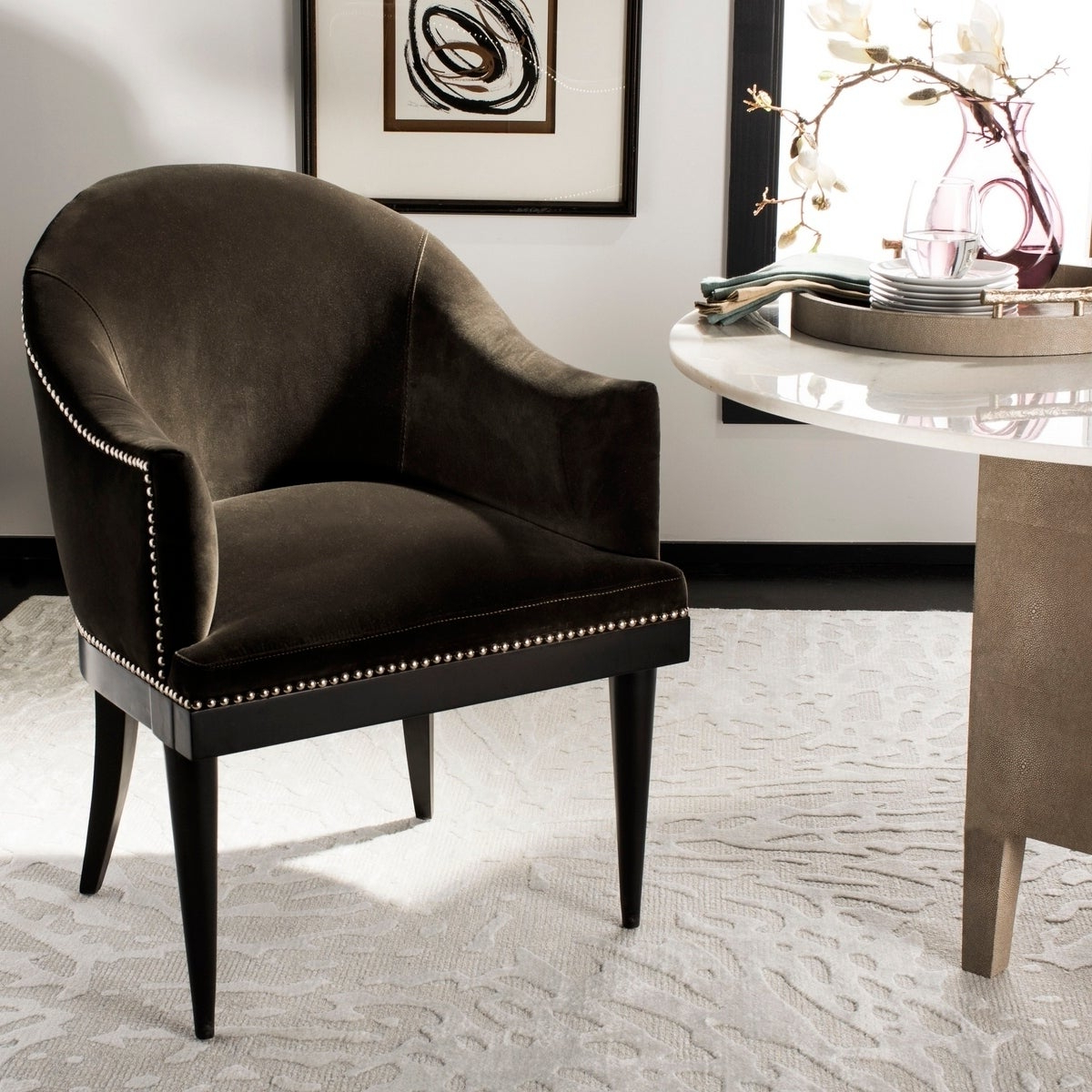 Shop Safavieh Couture Maynard Giotto Shale Commercial Grade Arm Inside Most Recently Released Maynard 5 Piece Dining Sets (View 15 of 25)