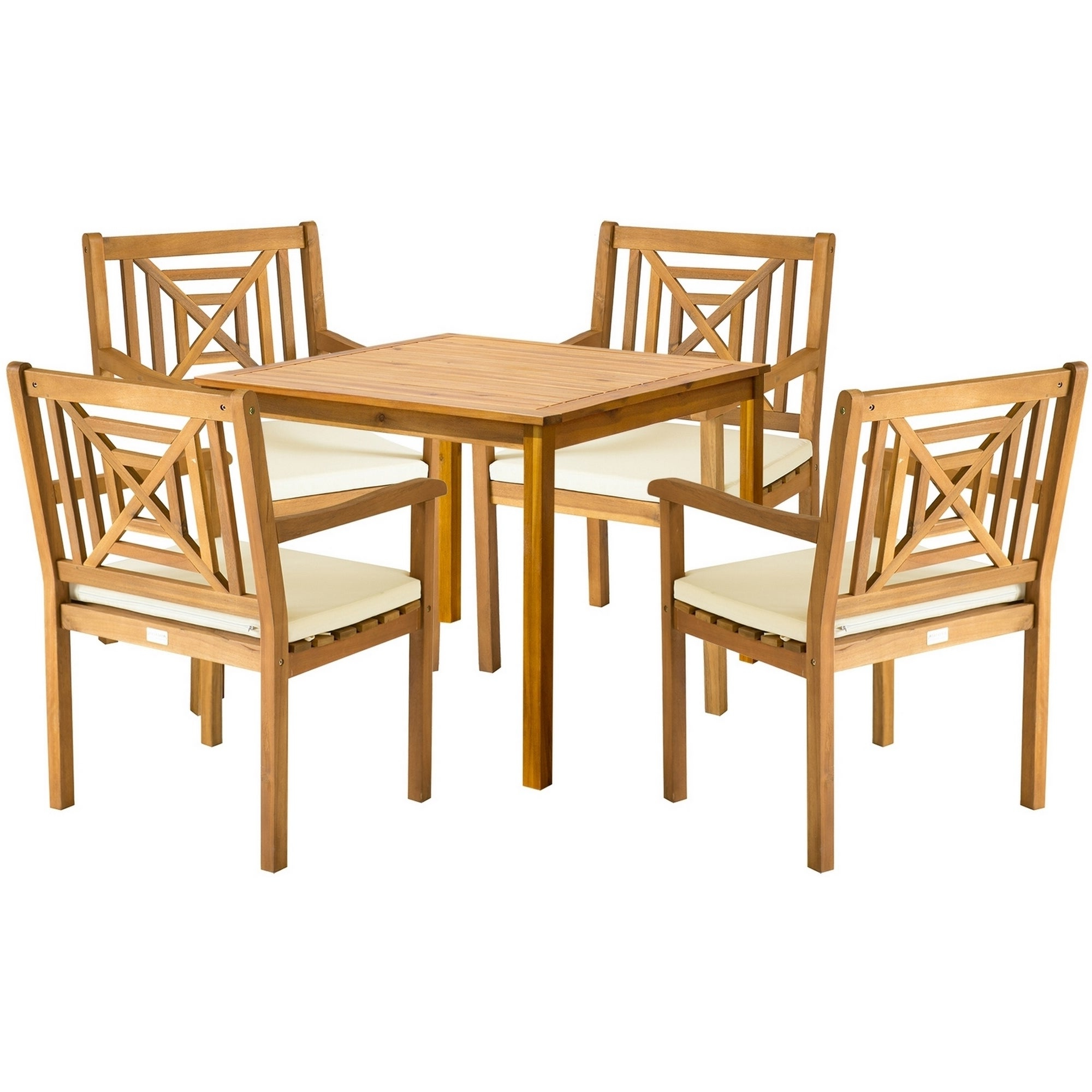Shop Safavieh Outdoor Living Del Mar Brown Acacia Wood 5 Piece Beige Intended For Most Recently Released Delmar 5 Piece Dining Sets (View 21 of 25)