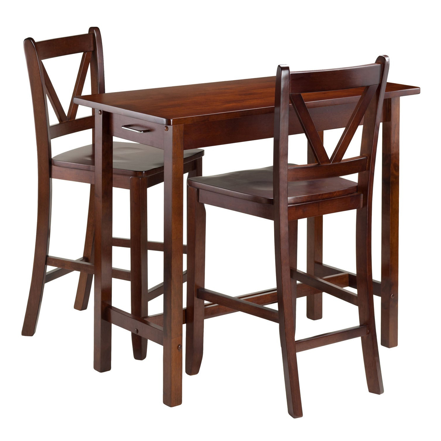 Shop Winsome 3 Piece Island Kitchen Table With 2 V Back Counter Within Famous Winsome 3 Piece Counter Height Dining Sets (View 10 of 25)