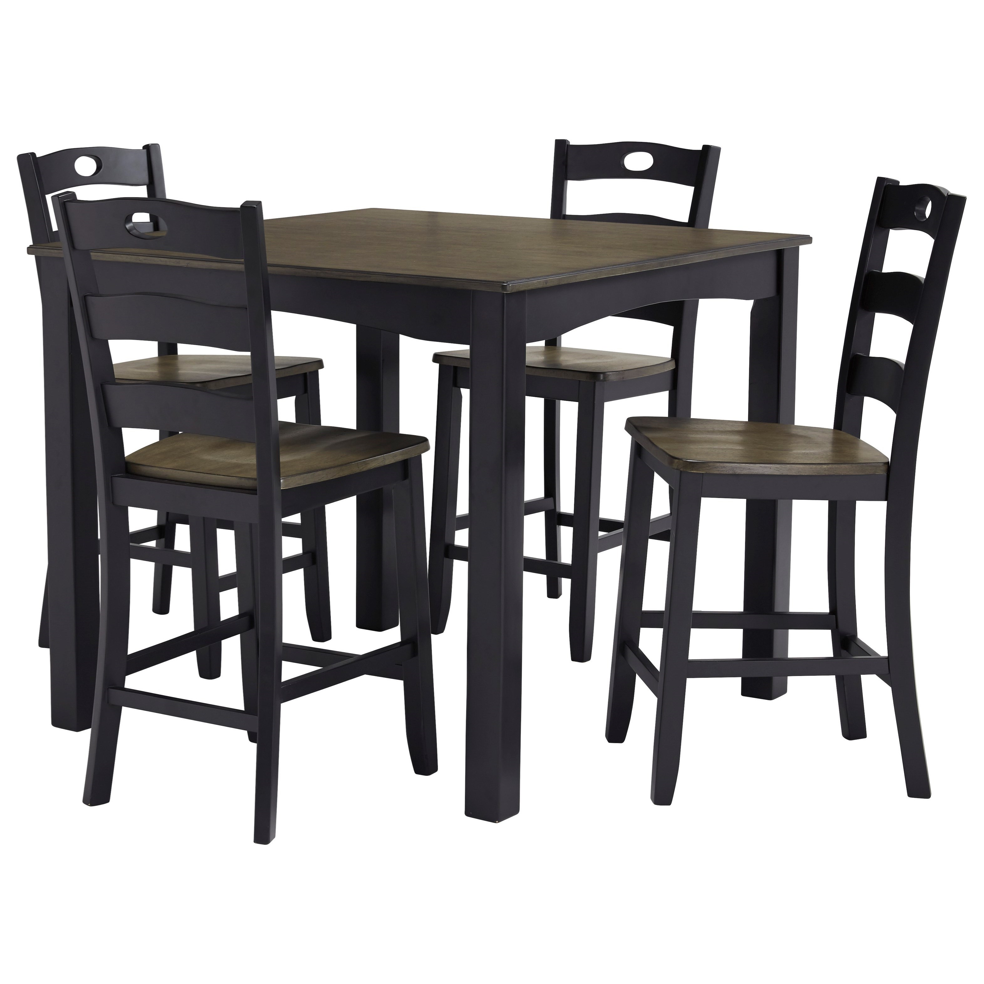 Signature Designashley Froshburg D338 223 Two Tone Finish 5 Throughout Most Recently Released Moorehead 3 Piece Counter Height Dining Sets (View 14 of 25)