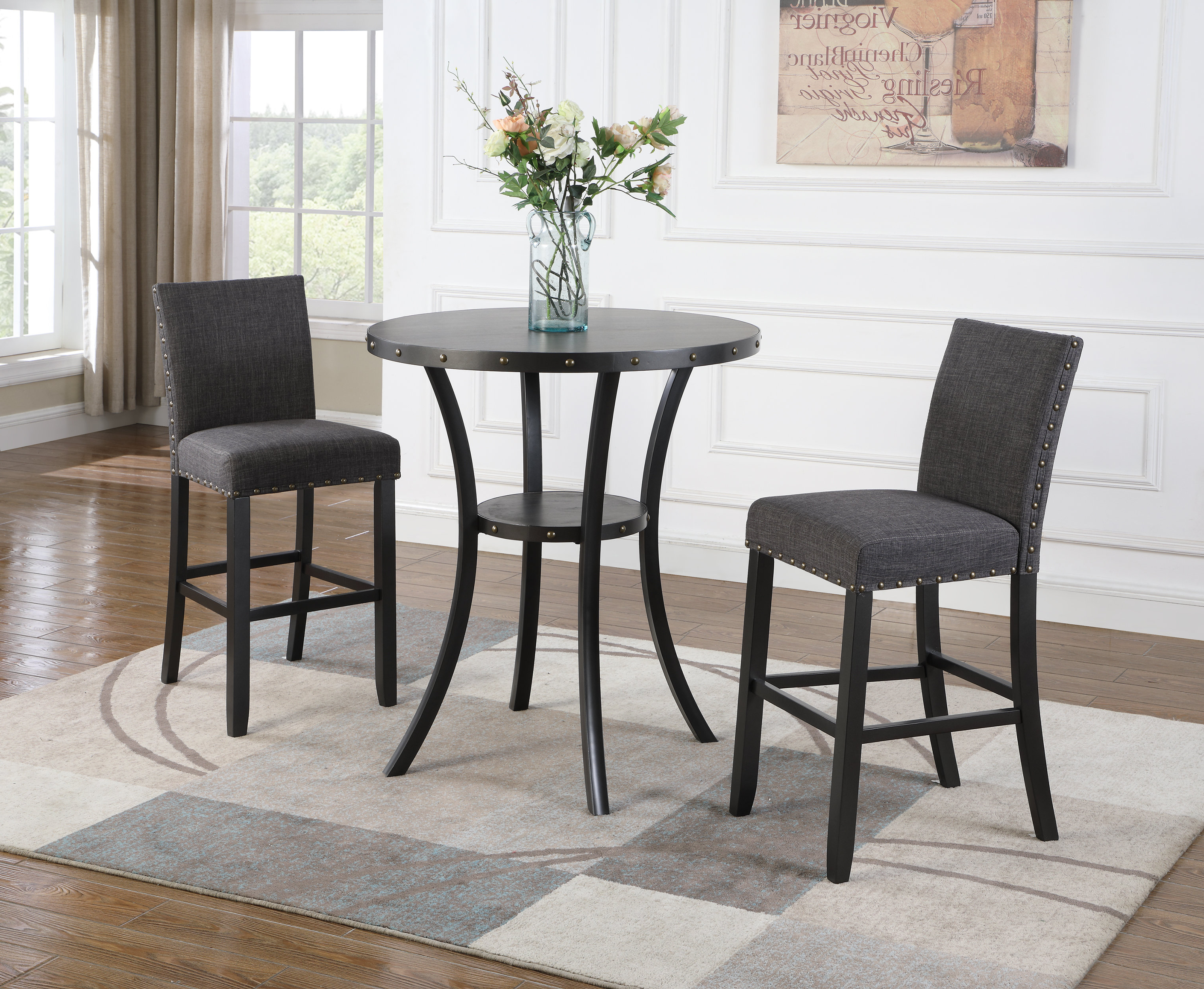Smyrna 3 Piece Dining Sets Intended For Latest Haysi 3 Piece Pub Table Set & Reviews (View 15 of 25)