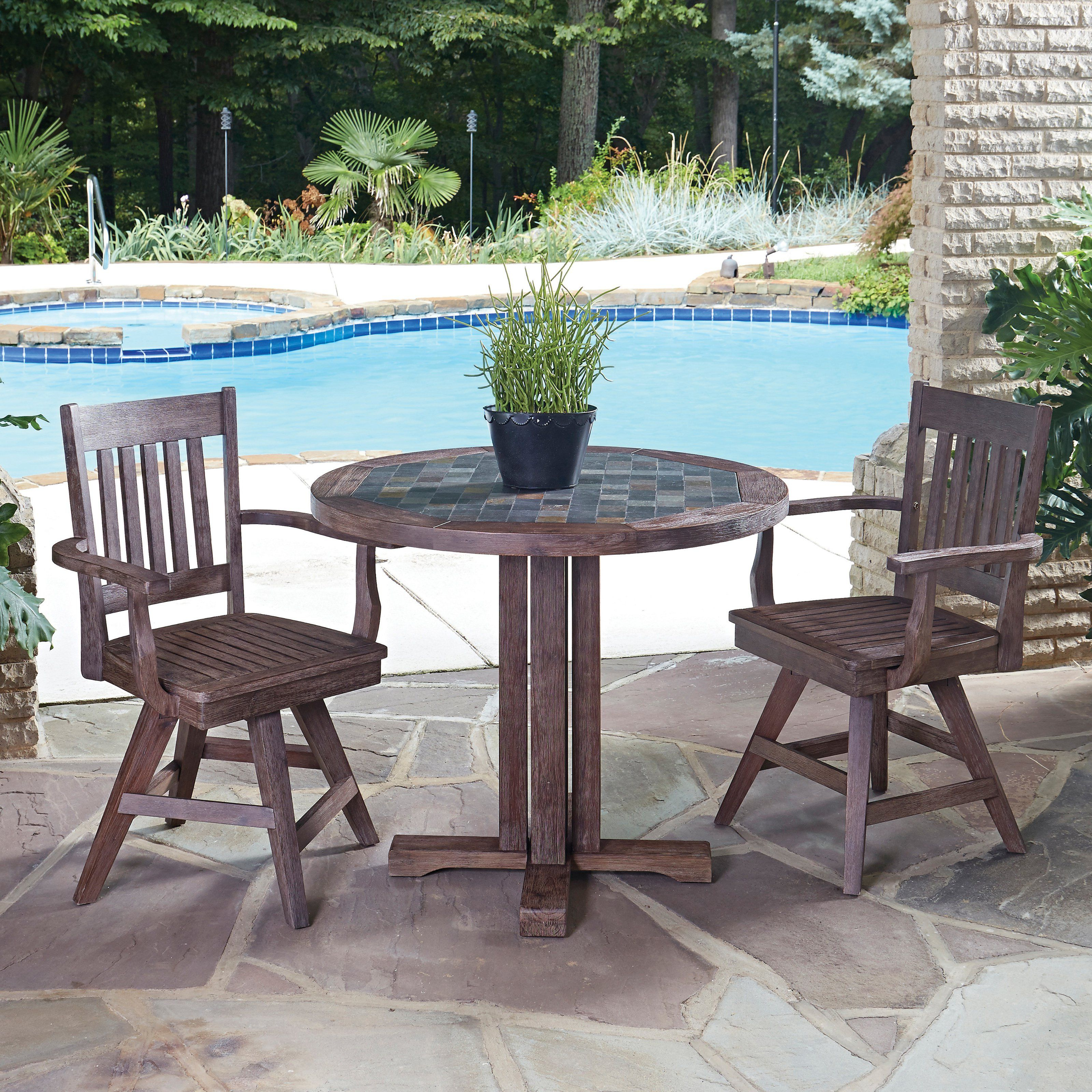Tarleton 5 Piece Dining Sets Throughout Popular Outdoor Home Styles Morocco Wood 3 Piece Round Patio Bistro Set (View 12 of 25)