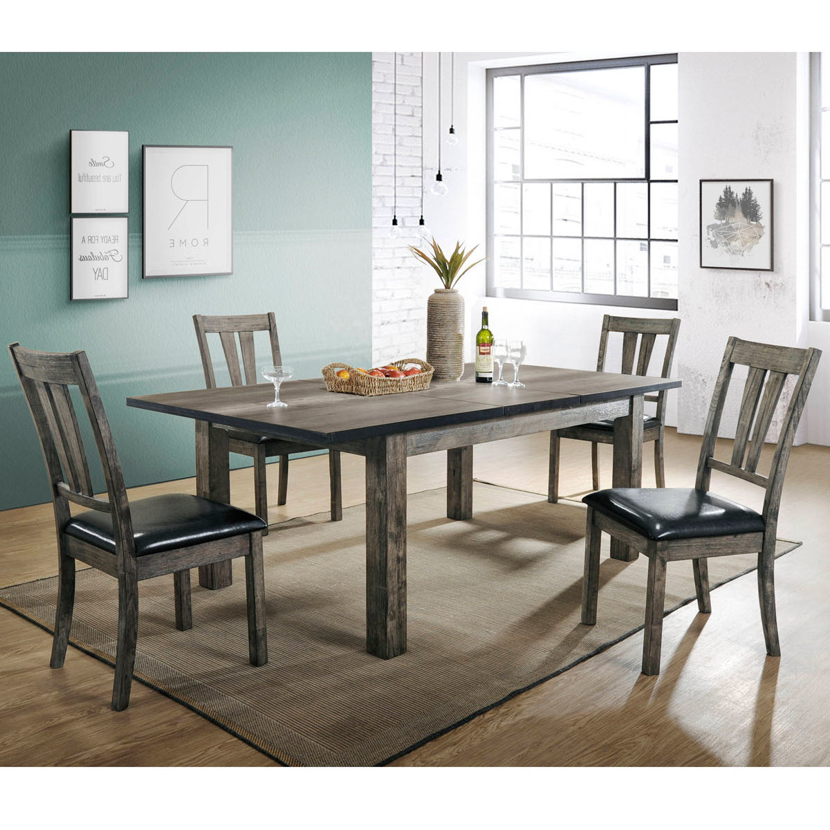 Tejeda 5 Piece Dining Sets Regarding Widely Used Union Rustic Sanda 5 Piece Wood Dining Set (View 7 of 25)