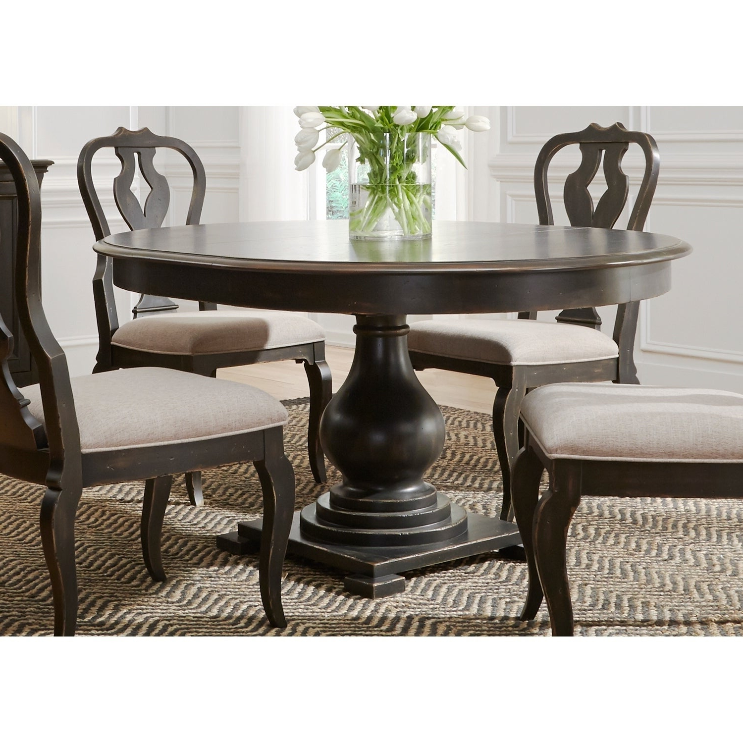 Tejeda 5 Piece Dining Sets Within Famous Shop Chesapeake Wire Brushed Antique Black 7 Piece Pedestal Table (View 22 of 25)