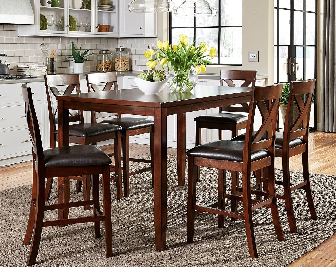 Thornton 7 Piece Counter Height Dining Set For 2019 Debby Small Space 3 Piece Dining Sets (View 11 of 25)