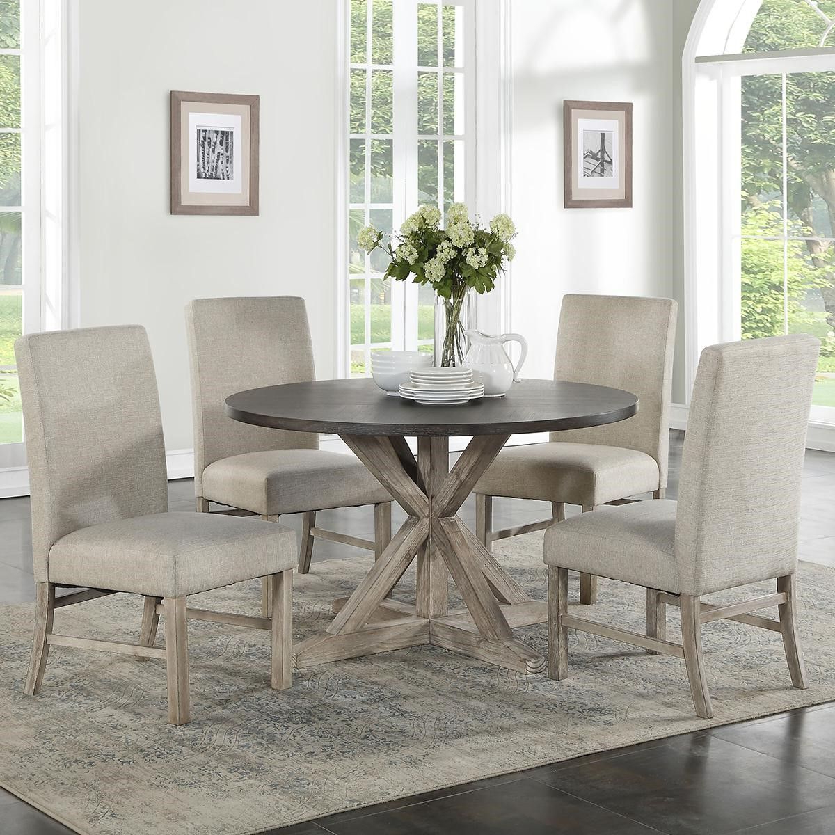 Travon 5 Piece Dining Sets Regarding Well Liked Langley Furniture Jefferson 5 Piece Dining Set In Reclaimed Pine And (View 6 of 25)