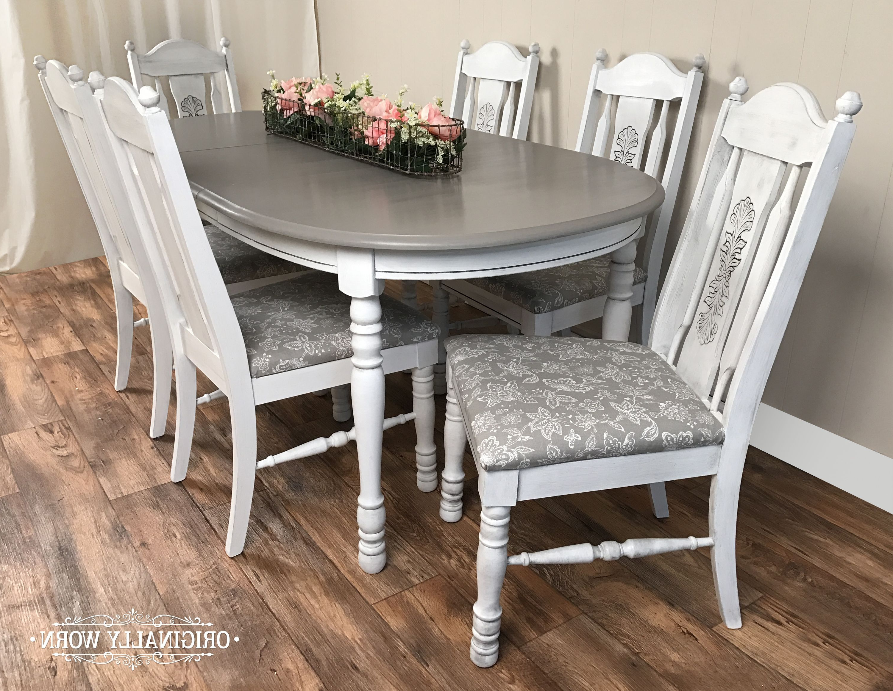Trendy 7 Piece Oval Dining Set In Annie Sloan Chalk Paint In Pure White And Inside Castellanos Modern 5 Piece Counter Height Dining Sets (View 22 of 25)