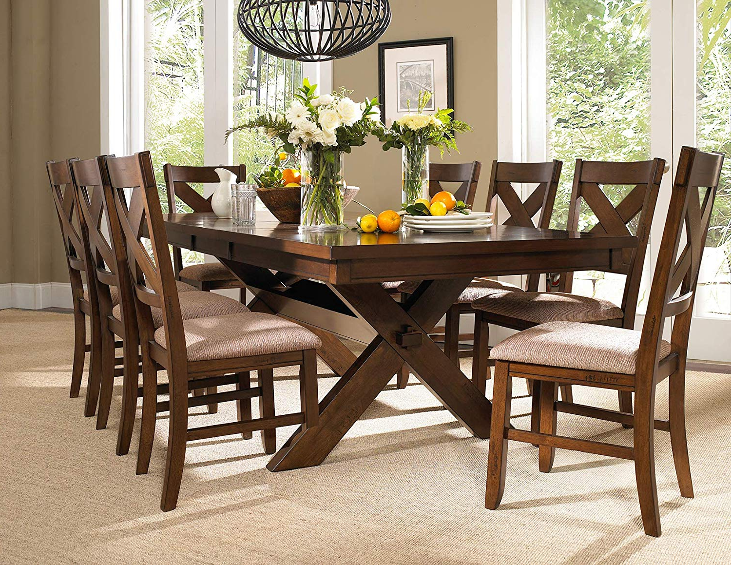 Trendy Amazon – Roundhill Furniture Karven 9 Piece Solid Wood Dining Pertaining To West Hill Family Table 3 Piece Dining Sets (View 10 of 25)